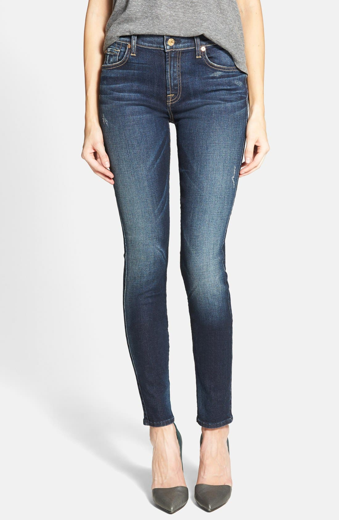 Main Image - 7 For All Mankind® Mid Rise Skinny Jeans (Alpine Blue)