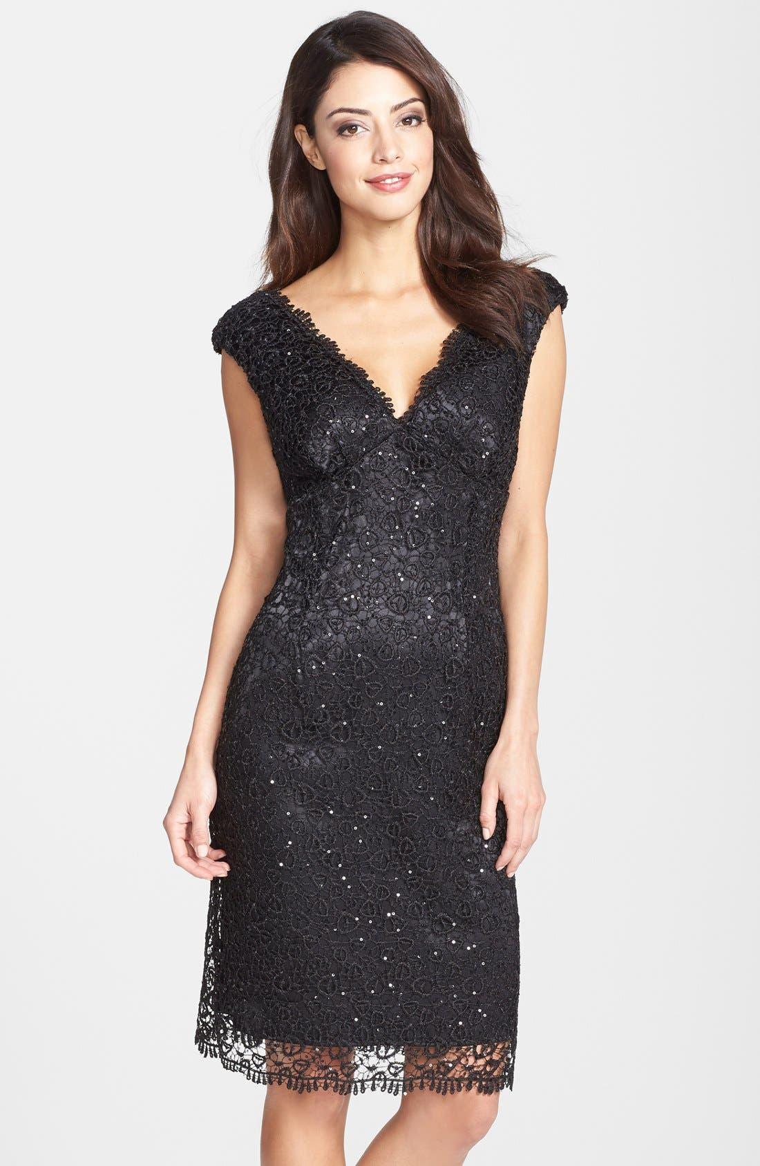Alternate Image 1 Selected - Marina Metallic Lace Sheath Dress