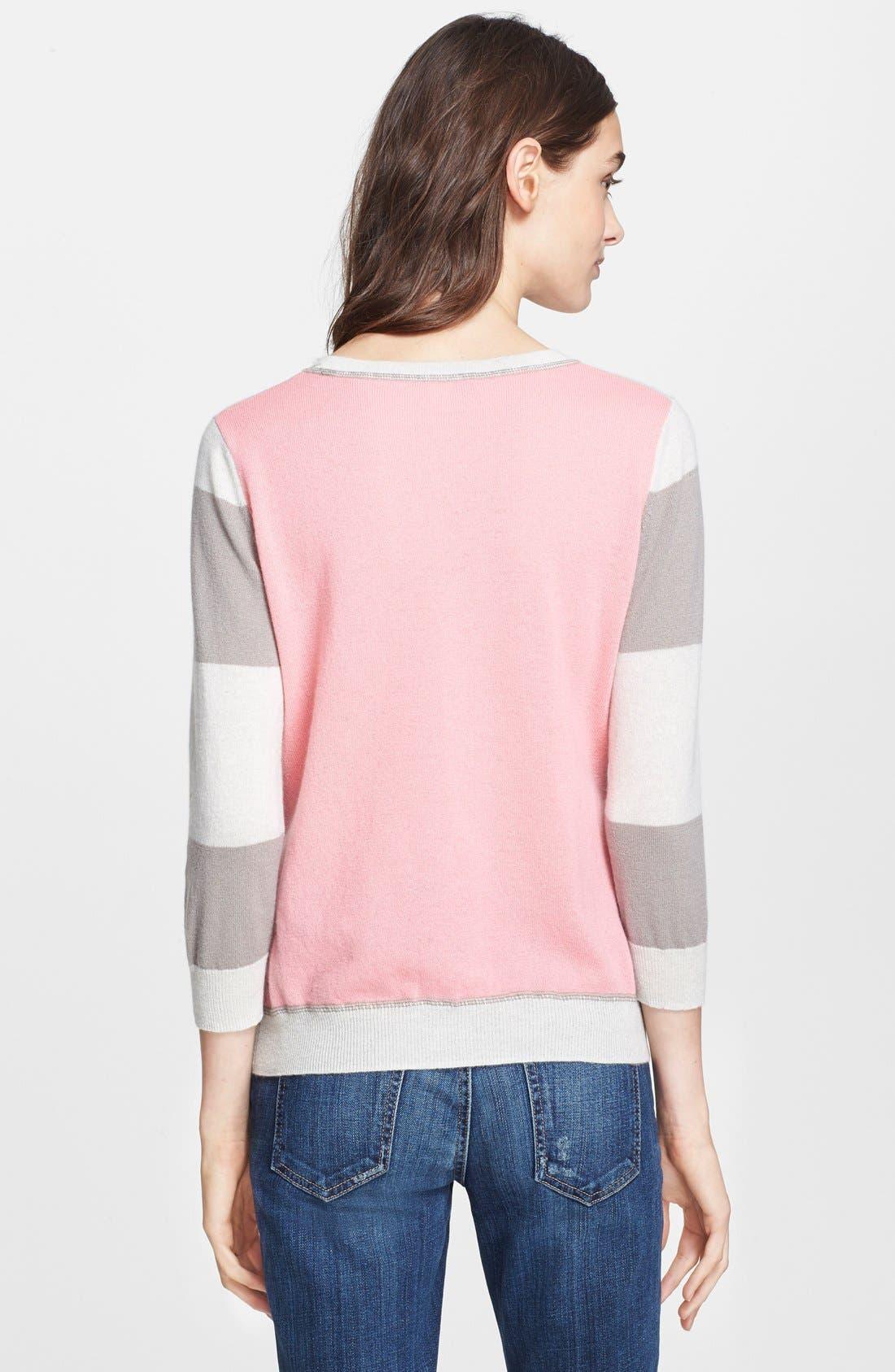 Alternate Image 2  - autumn cashmere Stripe & Solid Cashmere Sweatshirt