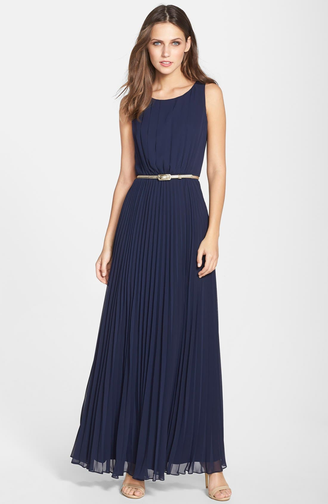 Alternate Image 1 Selected - Eliza J Pleated Chiffon Gown