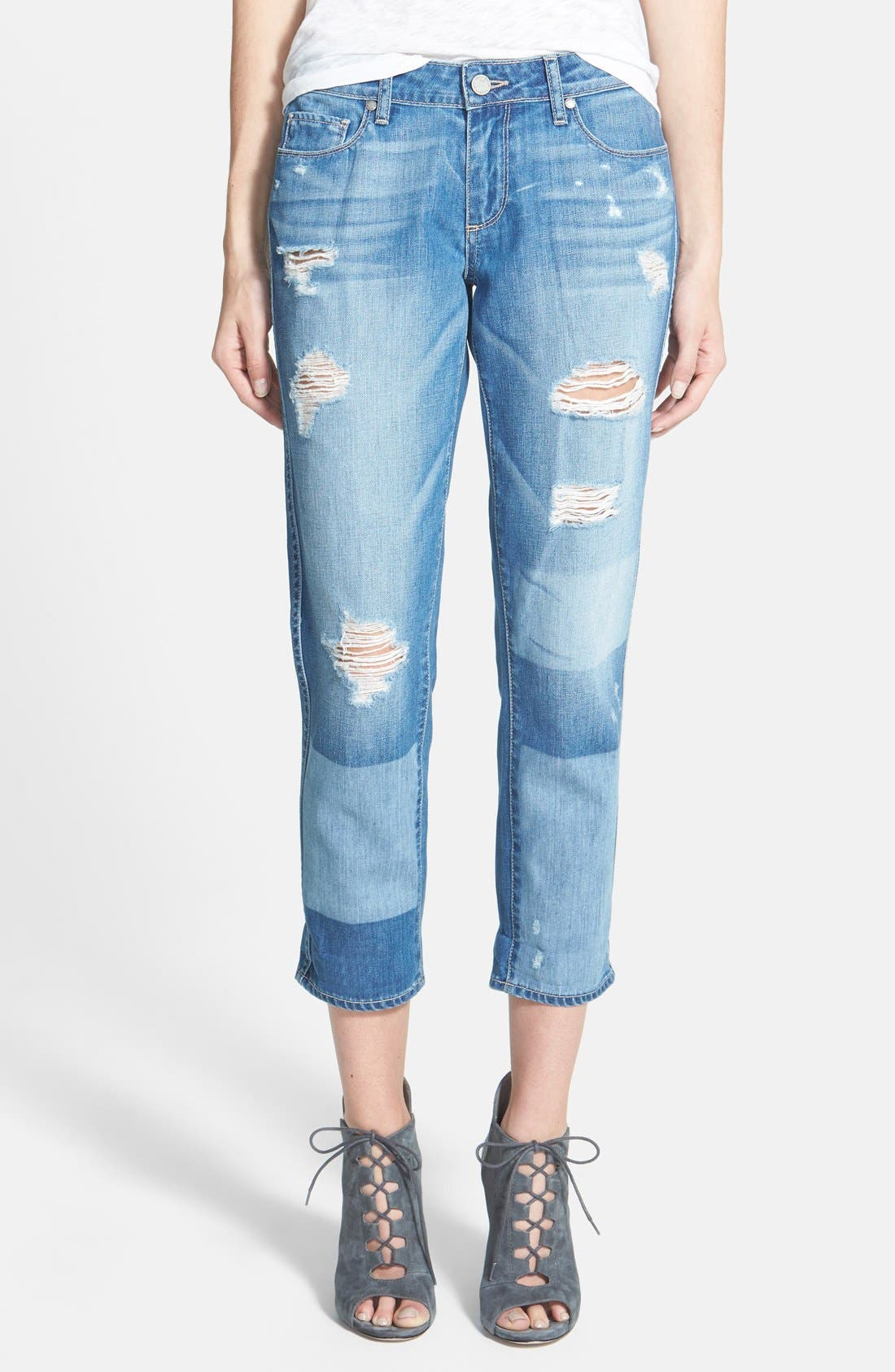 Main Image - Paige Denim 'Jimmy Jimmy' Crop Skinny Boyfriend Jeans (Indigo Ezra Destroyed)