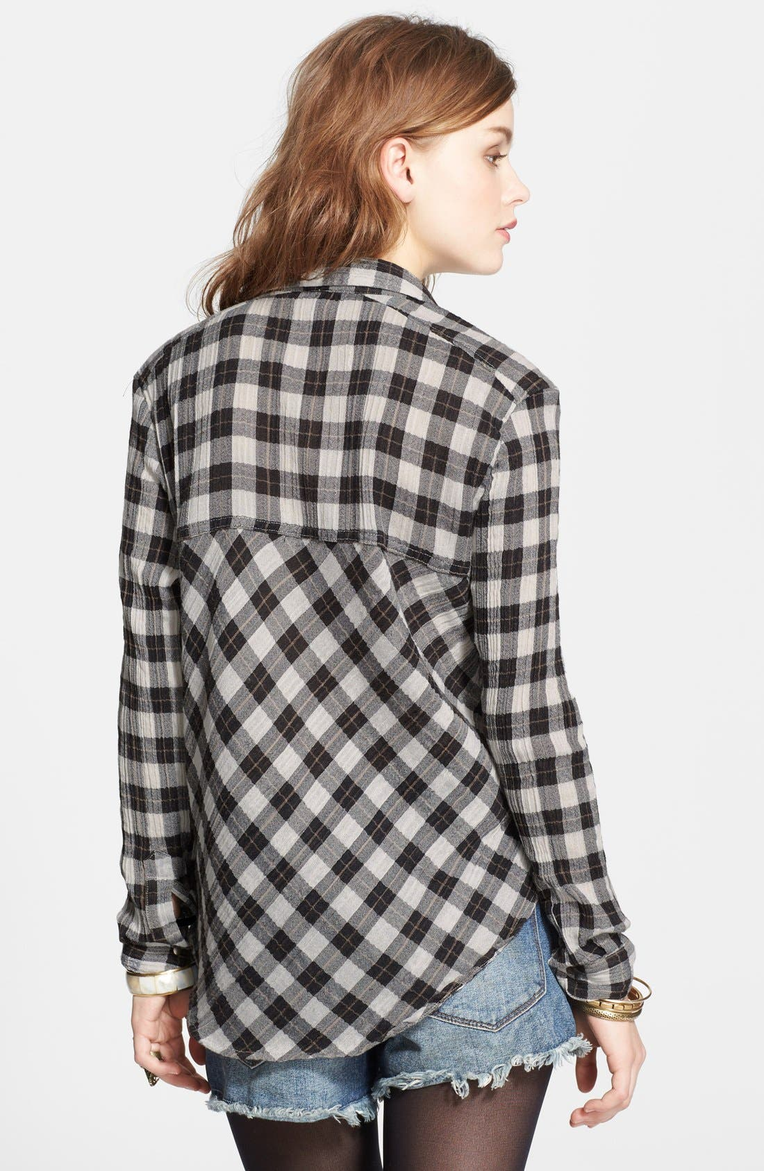 Alternate Image 2  - Free People Lace-Up Shoulder Plaid Shirt