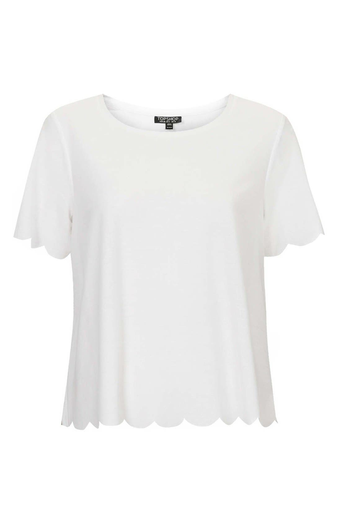 Alternate Image 4  - Topshop Scallop Frill Tee