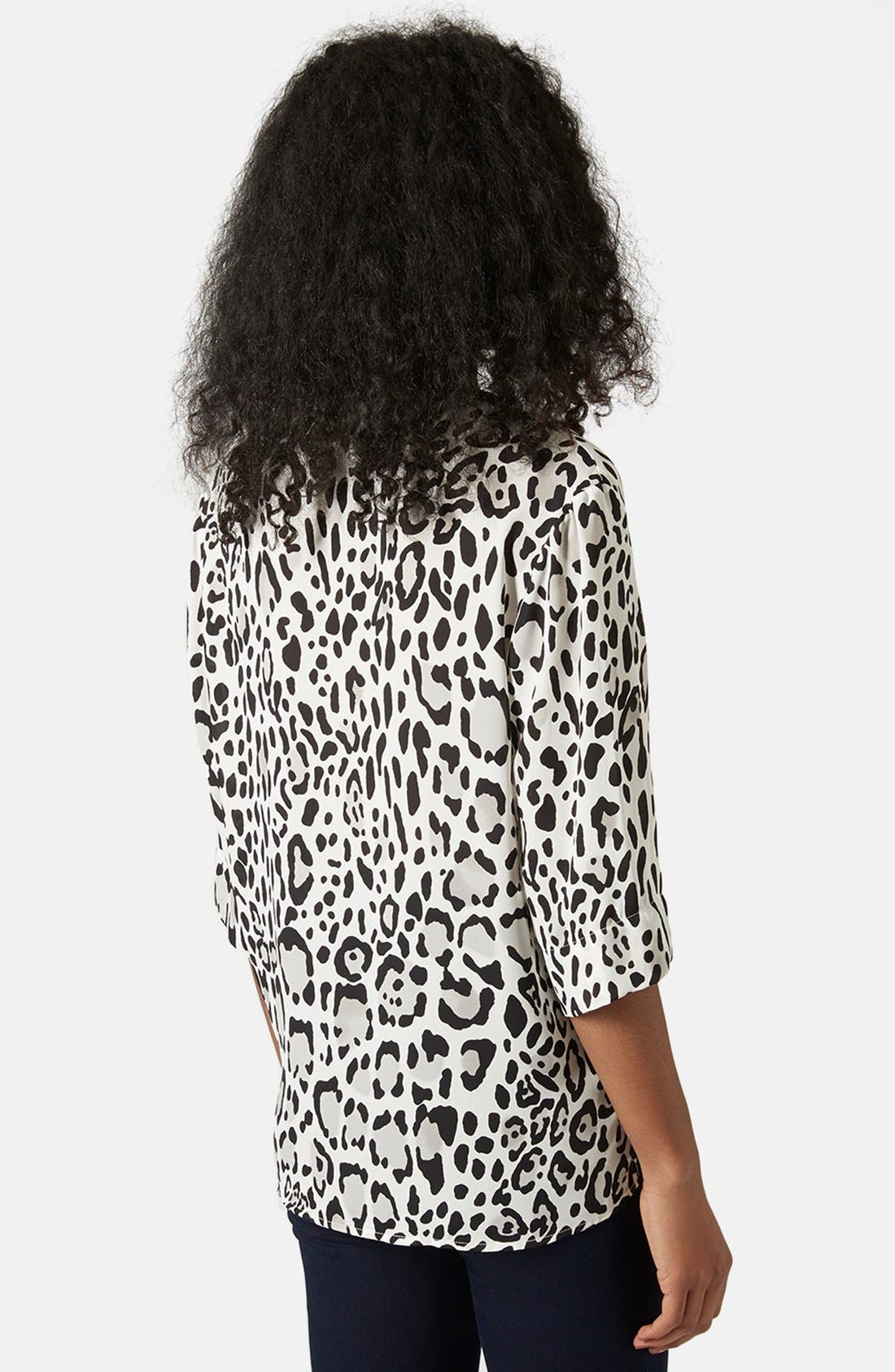 Alternate Image 2  - Topshop Leopard Print Surplice Top