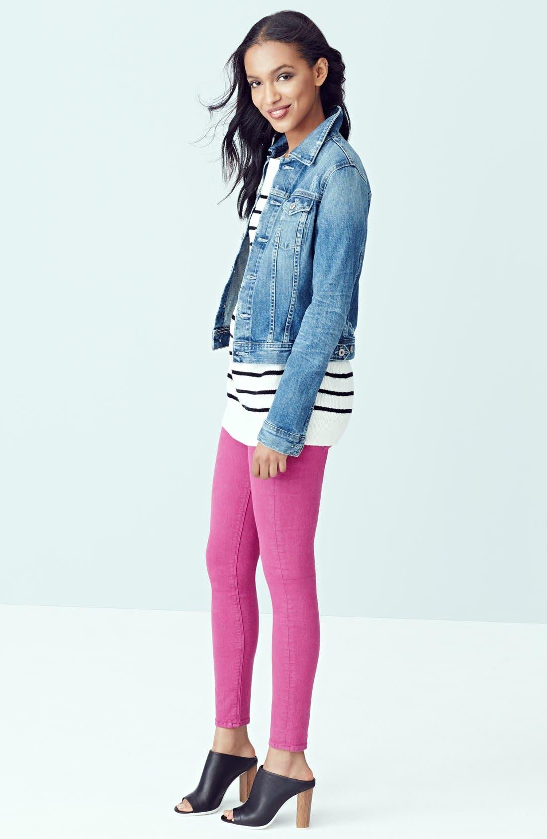 Alternate Image 4  - Hudson Jeans 'Krista' Super Skinny Jeans (Bright Hydrangea)