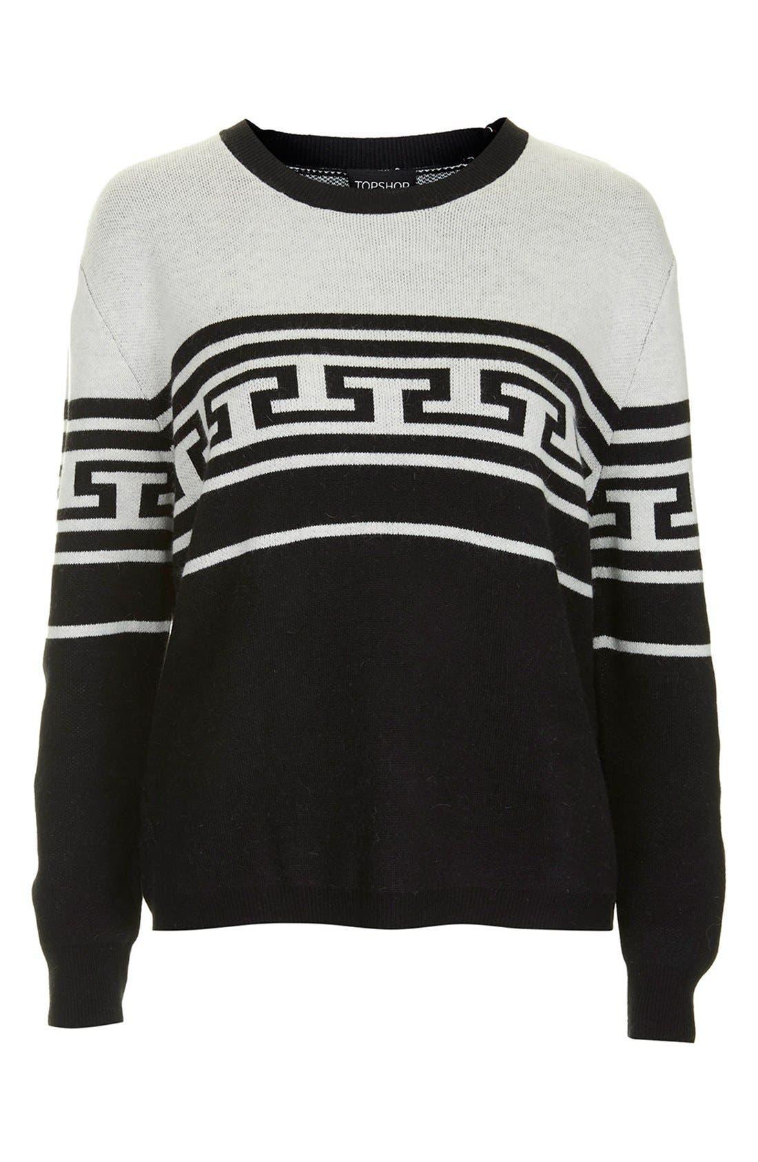 Alternate Image 3  - Topshop Monochrome Pattern Crewneck Sweater