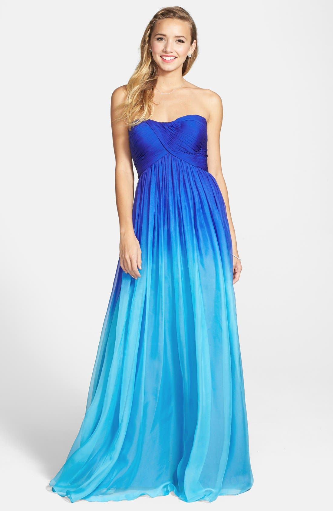 Alternate Image 1 Selected - La Femme Ruched Ombré Chiffon Strapless Gown