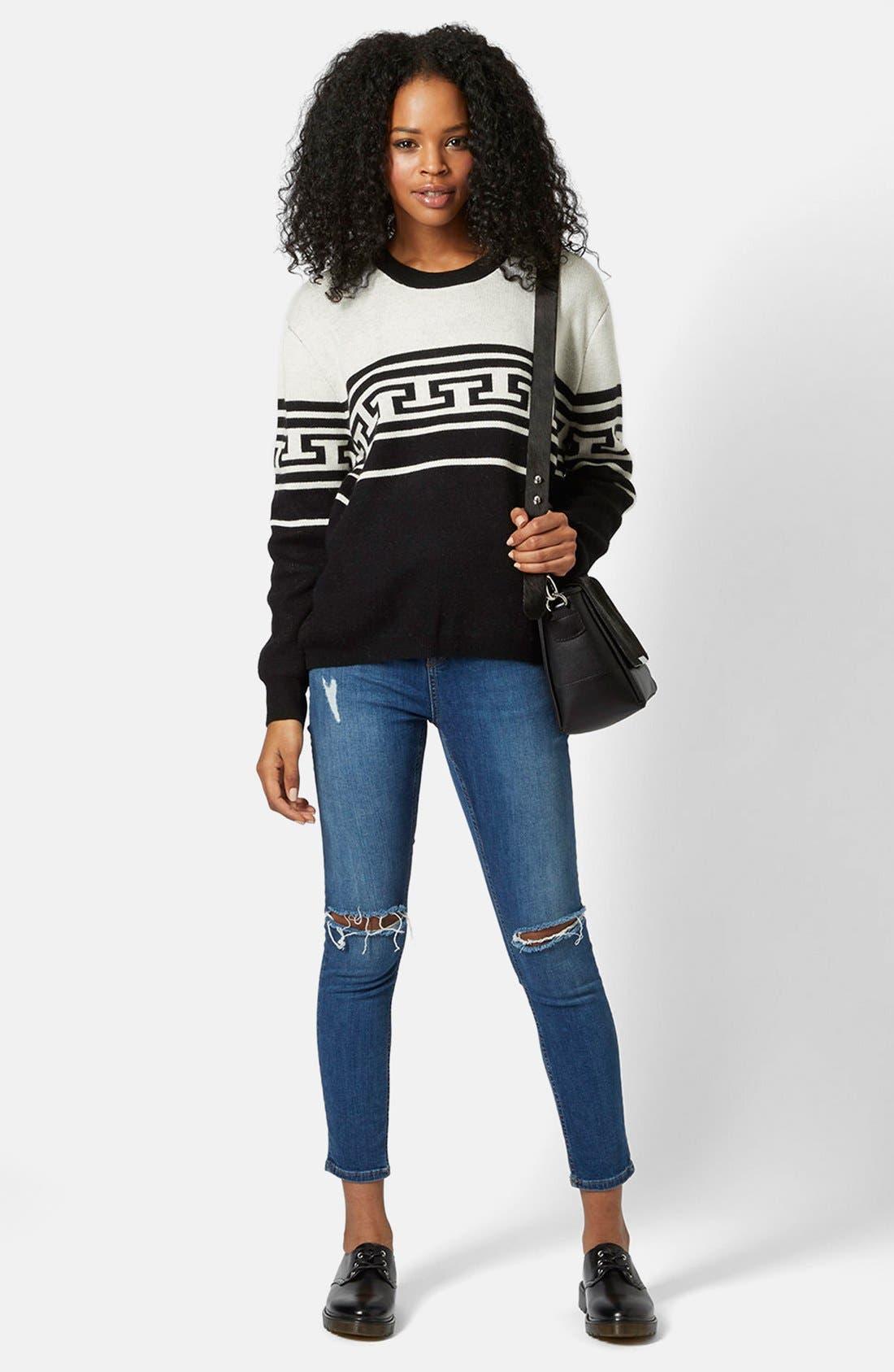 Alternate Image 5  - Topshop Monochrome Pattern Crewneck Sweater