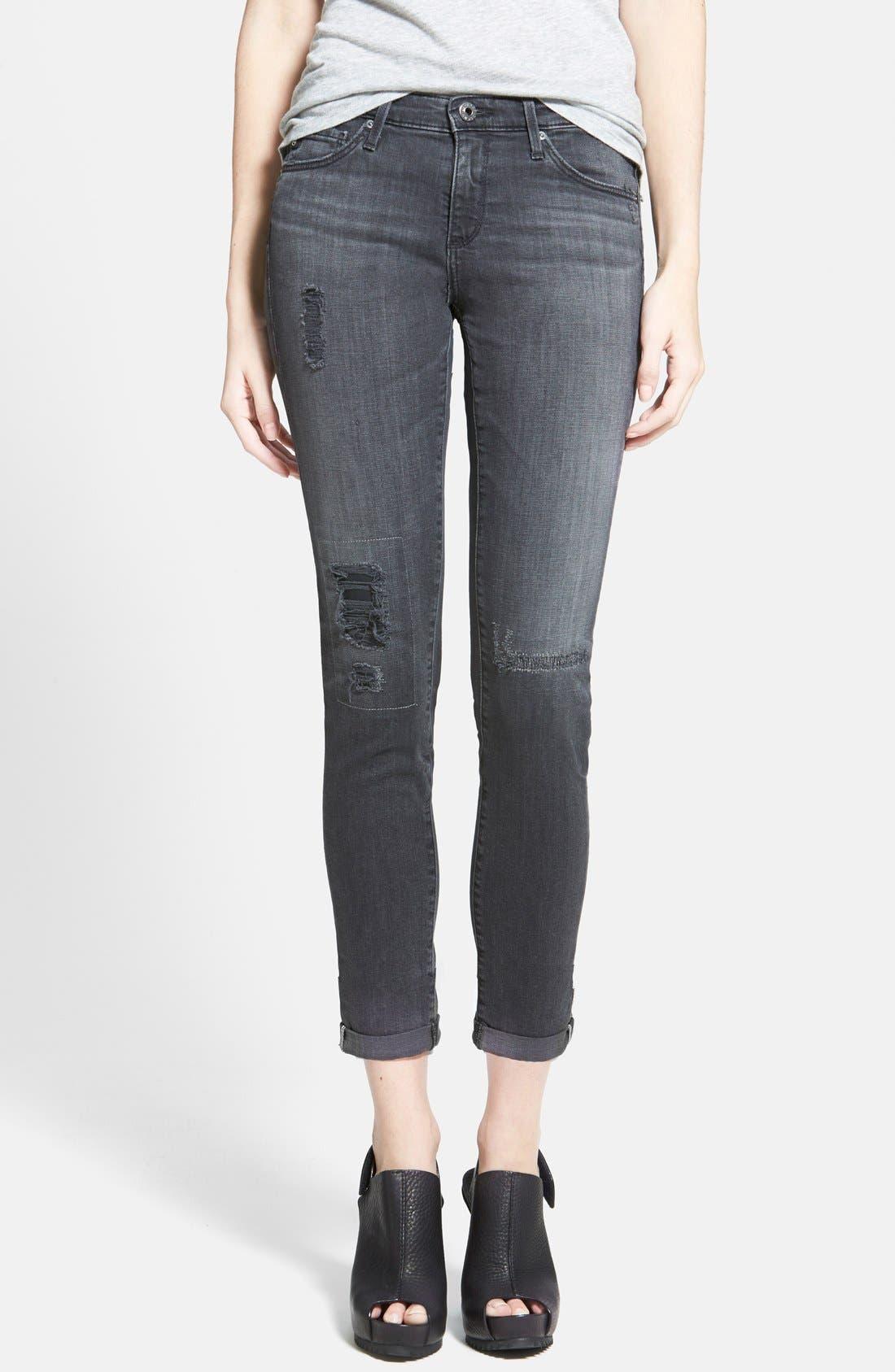 Alternate Image 1 Selected - AG 'The Stilt' Cuffed Cigarette Jeans (Mantra Mended)