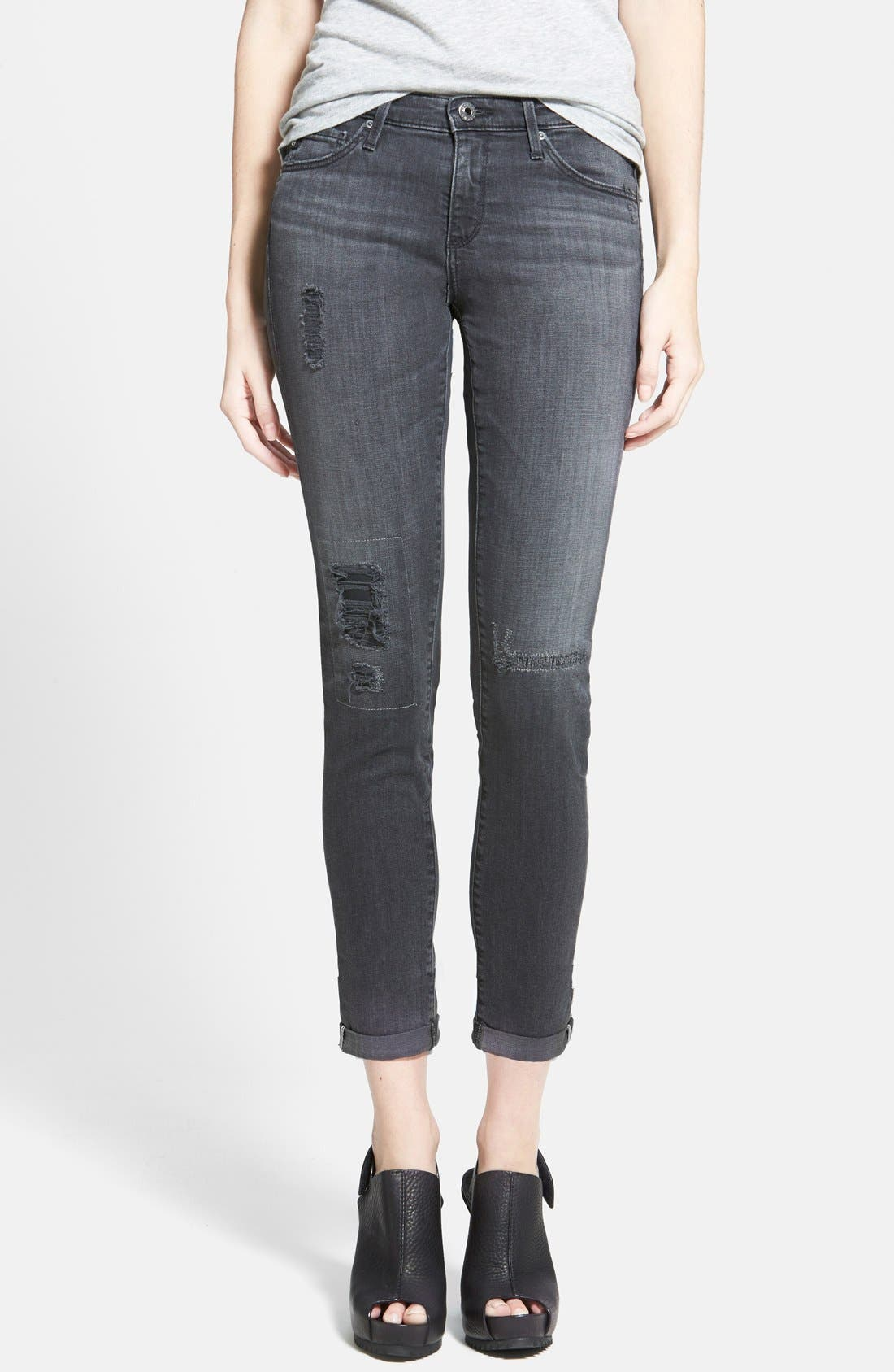 Main Image - AG 'The Stilt' Cuffed Cigarette Jeans (Mantra Mended)
