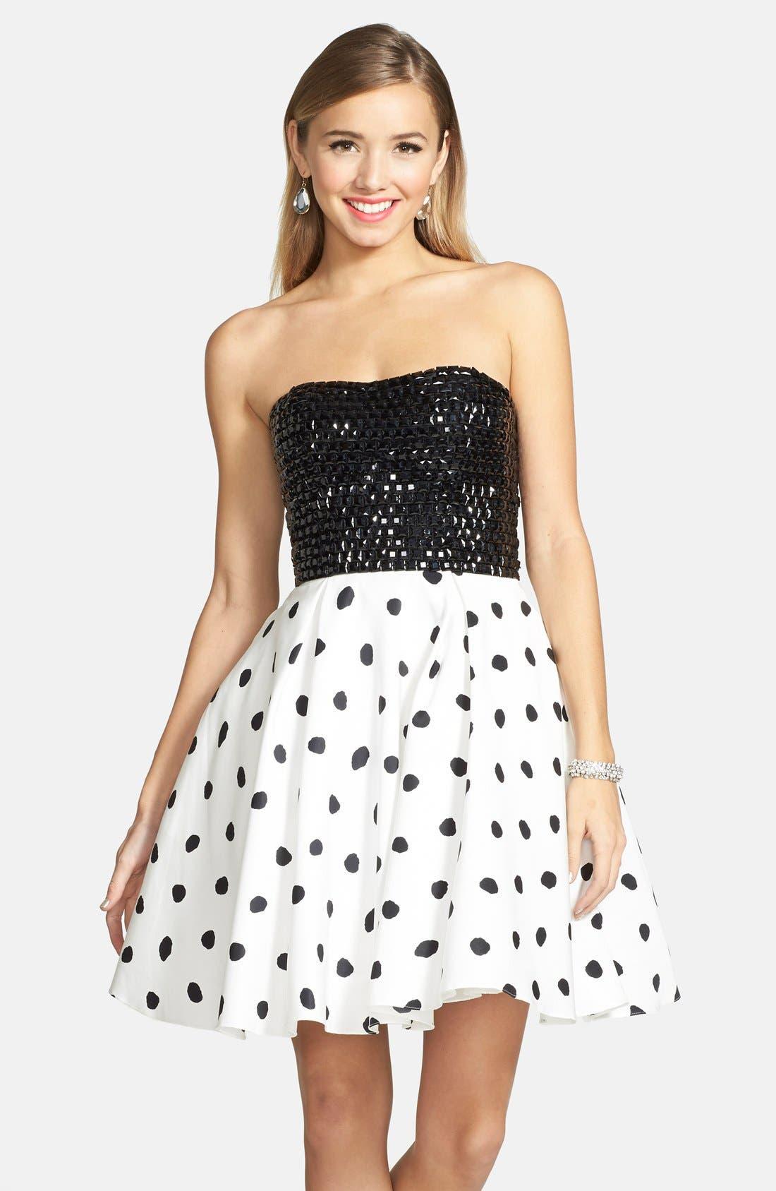 Alternate Image 1 Selected - Sherri Hill Embellished Polka Dot Strapless Fit & Flare Dress