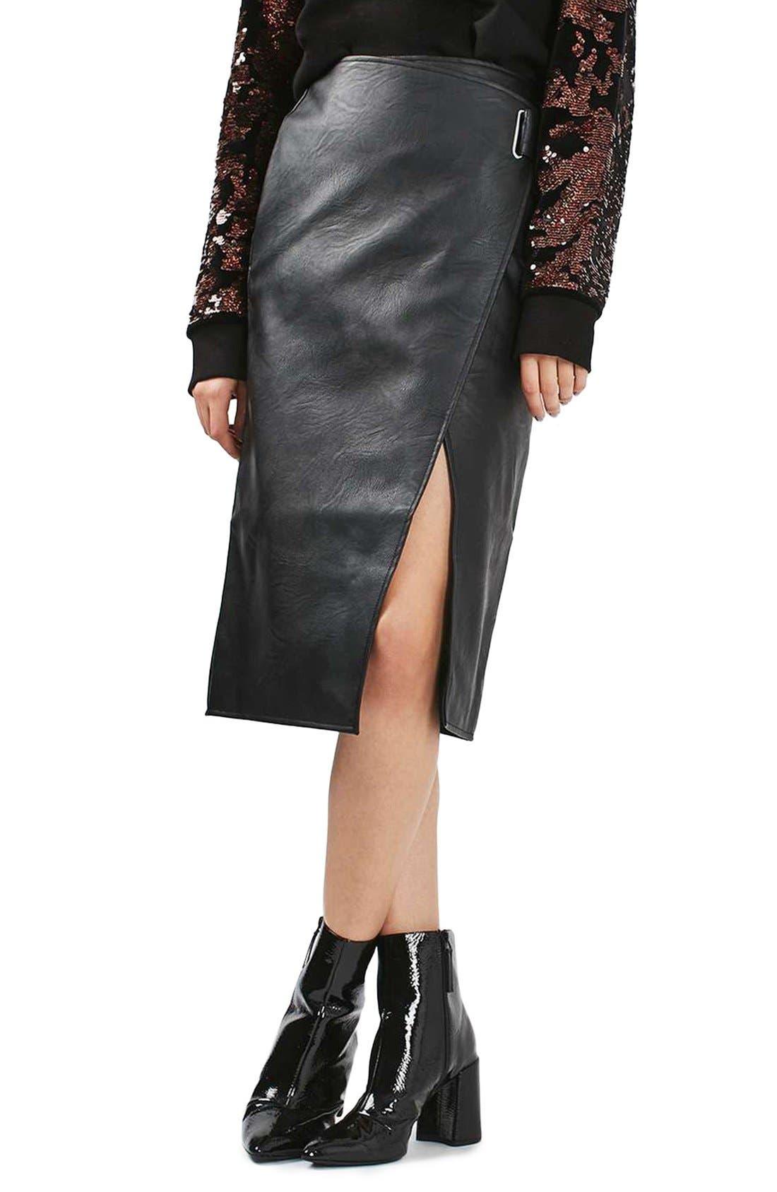 Main Image - Topshop Faux Leather Wrap Midi Skirt