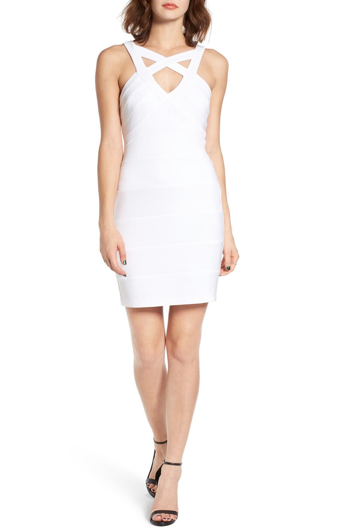 Main Image - Love, Nickie Lew Cross Front Body-Con Dress