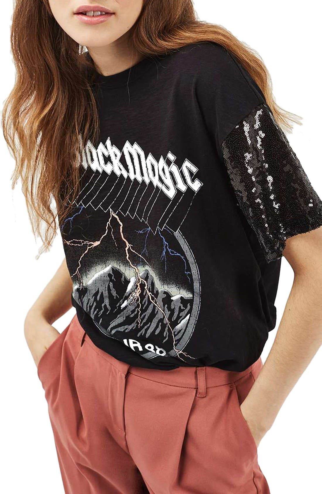 Main Image - Topshop Sequin Sleeve Rock Tee