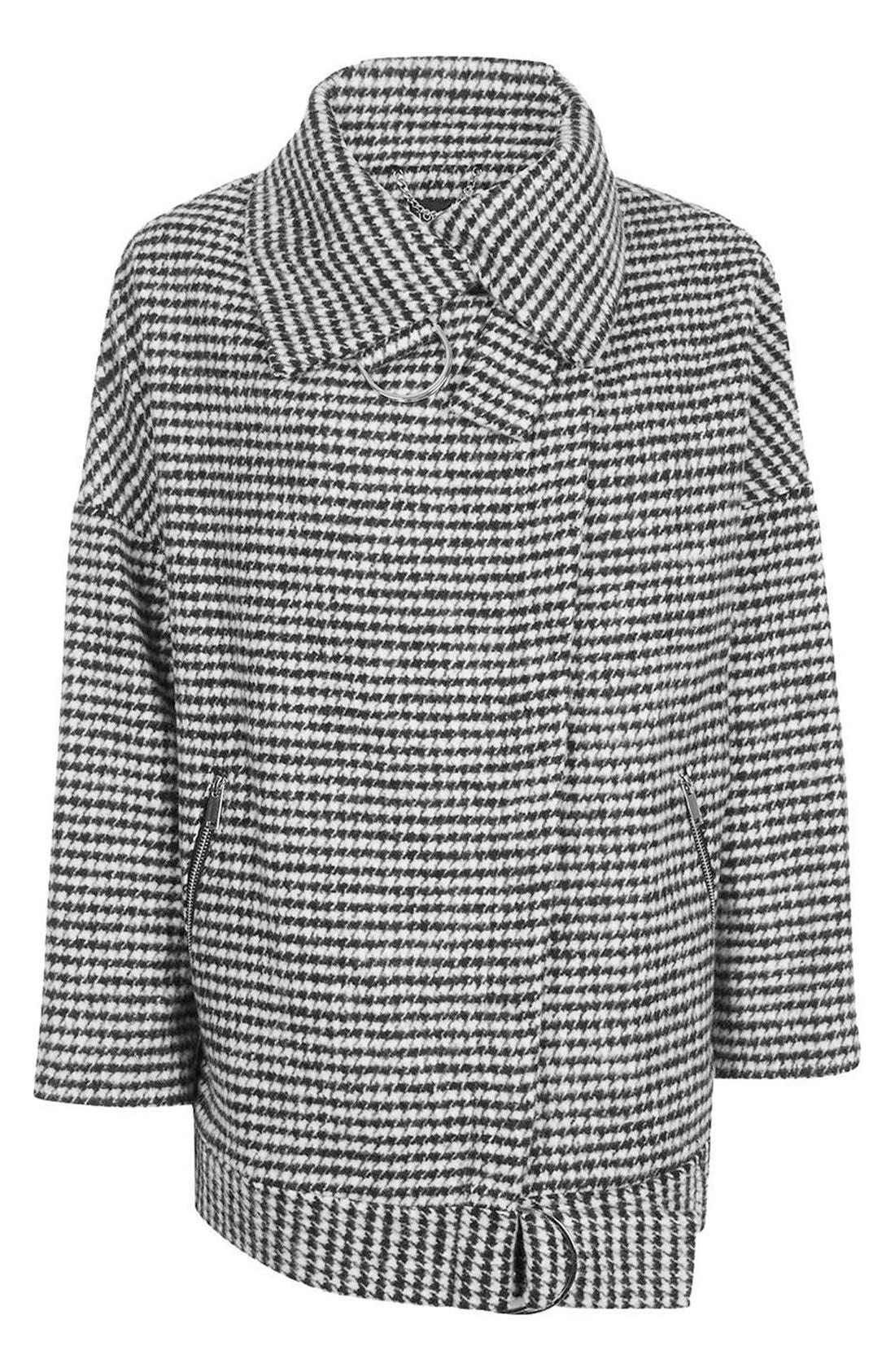 Alternate Image 4  - Topshop Funnel Neck Houndstooth Coat