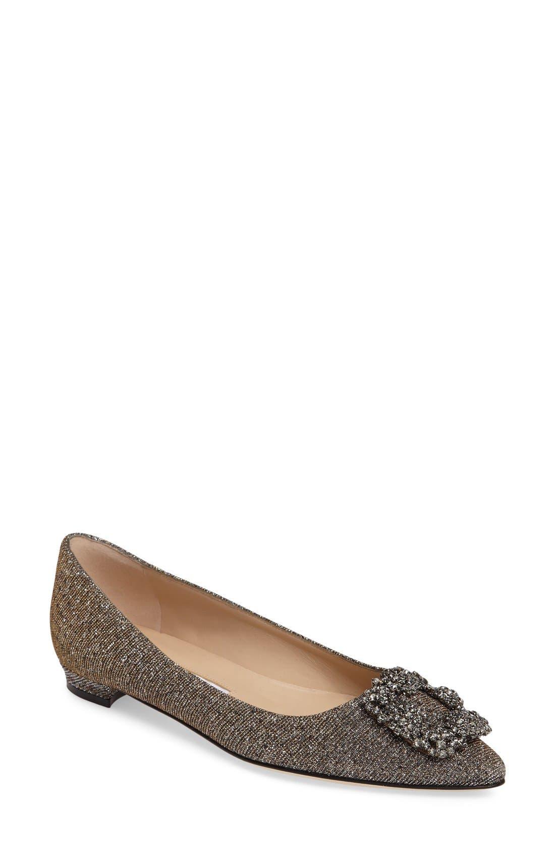 Manolo Blahnik 'Hangisi' Jeweled Pointy Toe Flat (Women)