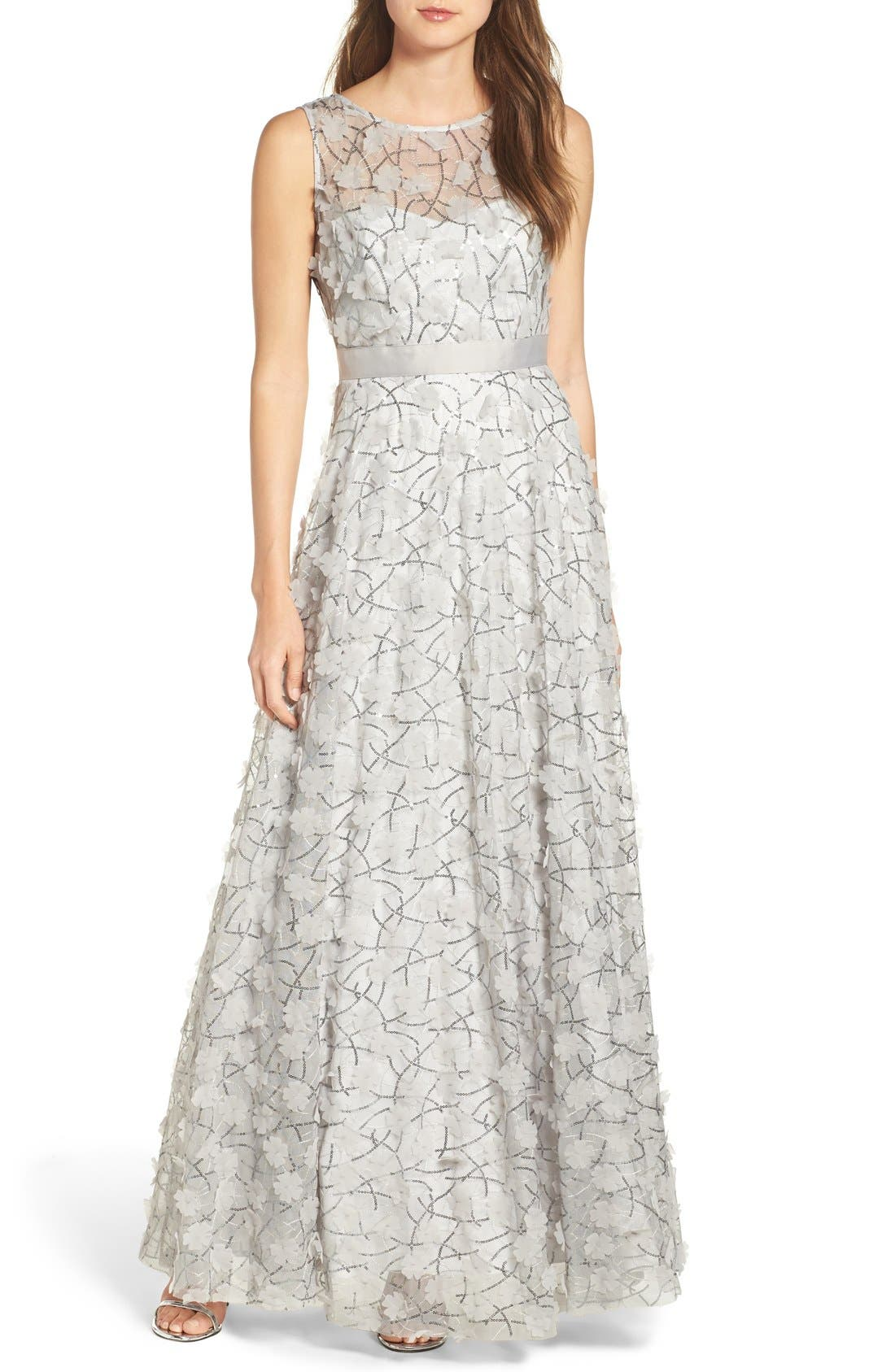 Alternate Image 1 Selected - Eliza J Embellished Mesh Ballgown (Regular & Petite)