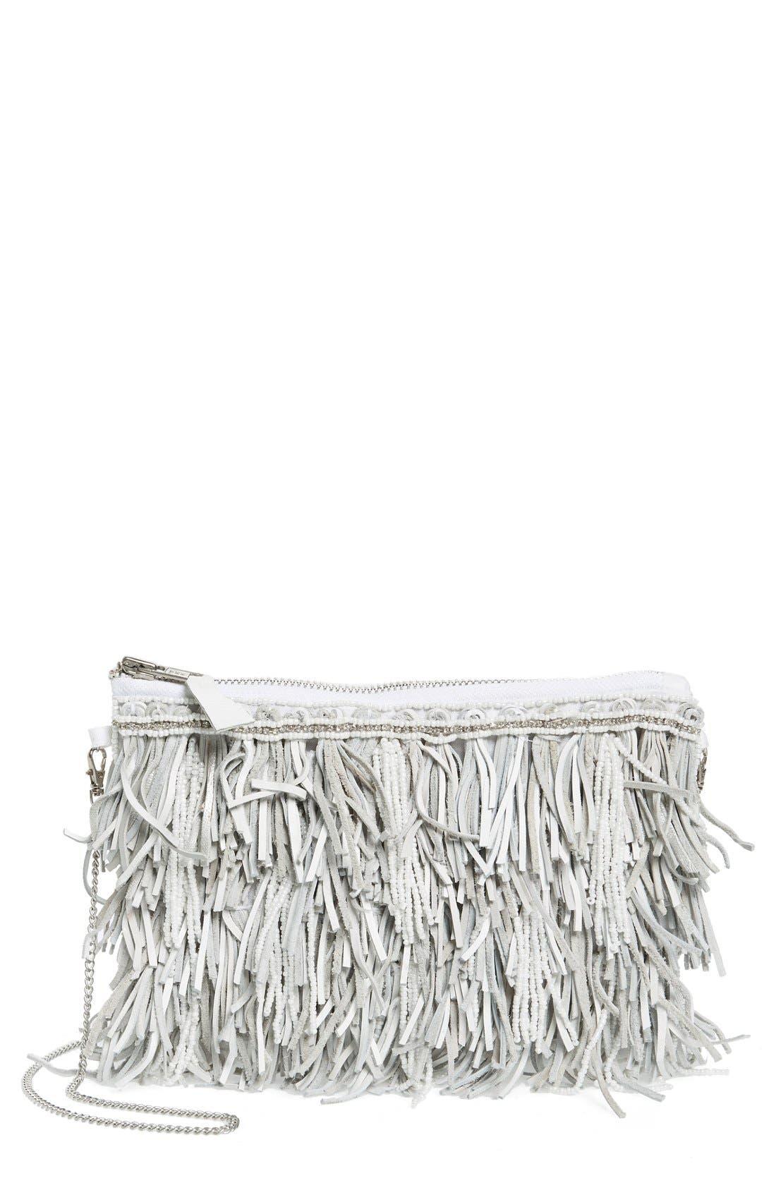 Alternate Image 1 Selected - G-lish Bead & Leather Fringe Crossbody Bag