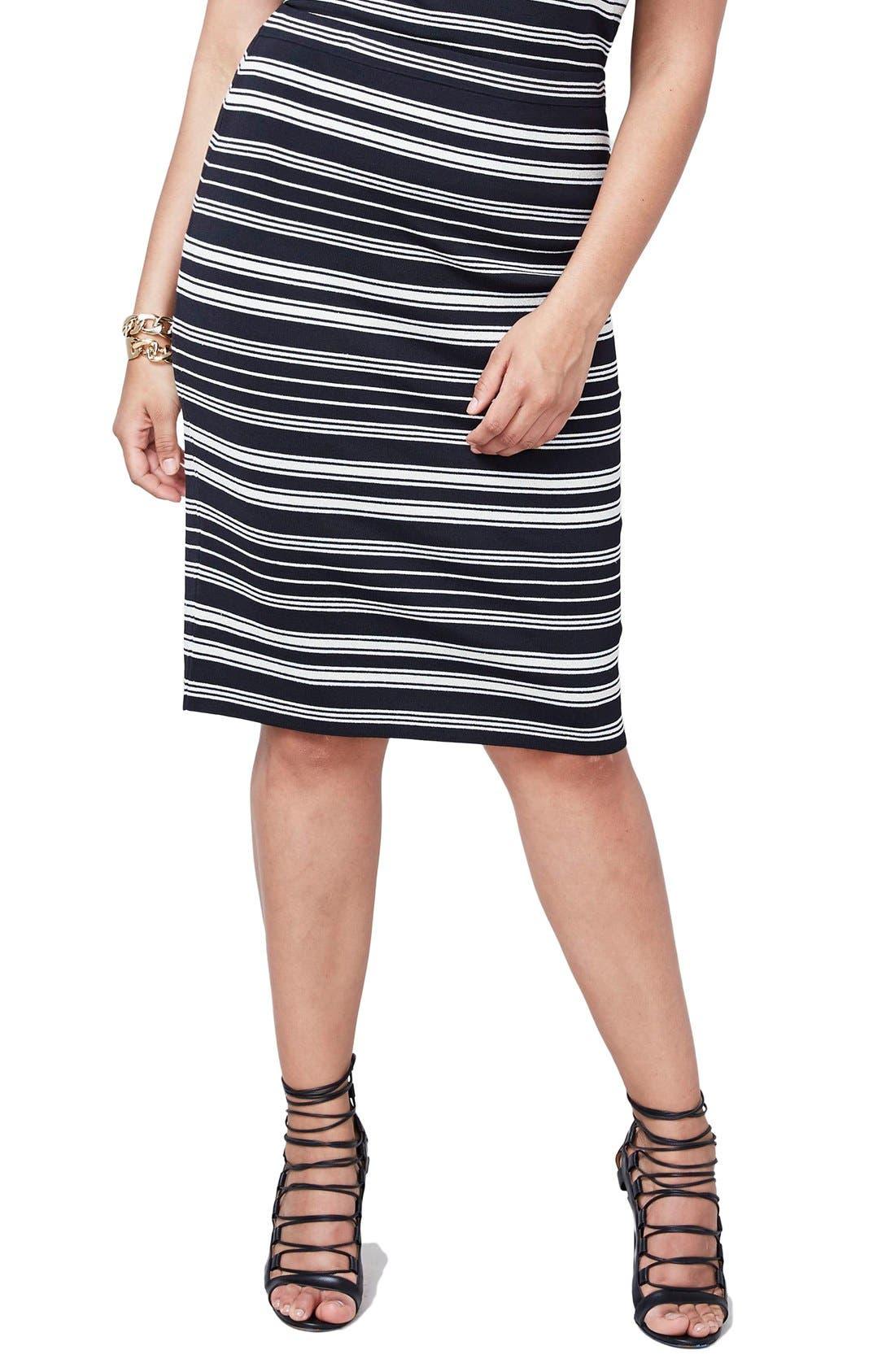 RACHEL Rachel Roy Stripe Stretch Knit Pencil Skirt (Plus Size)