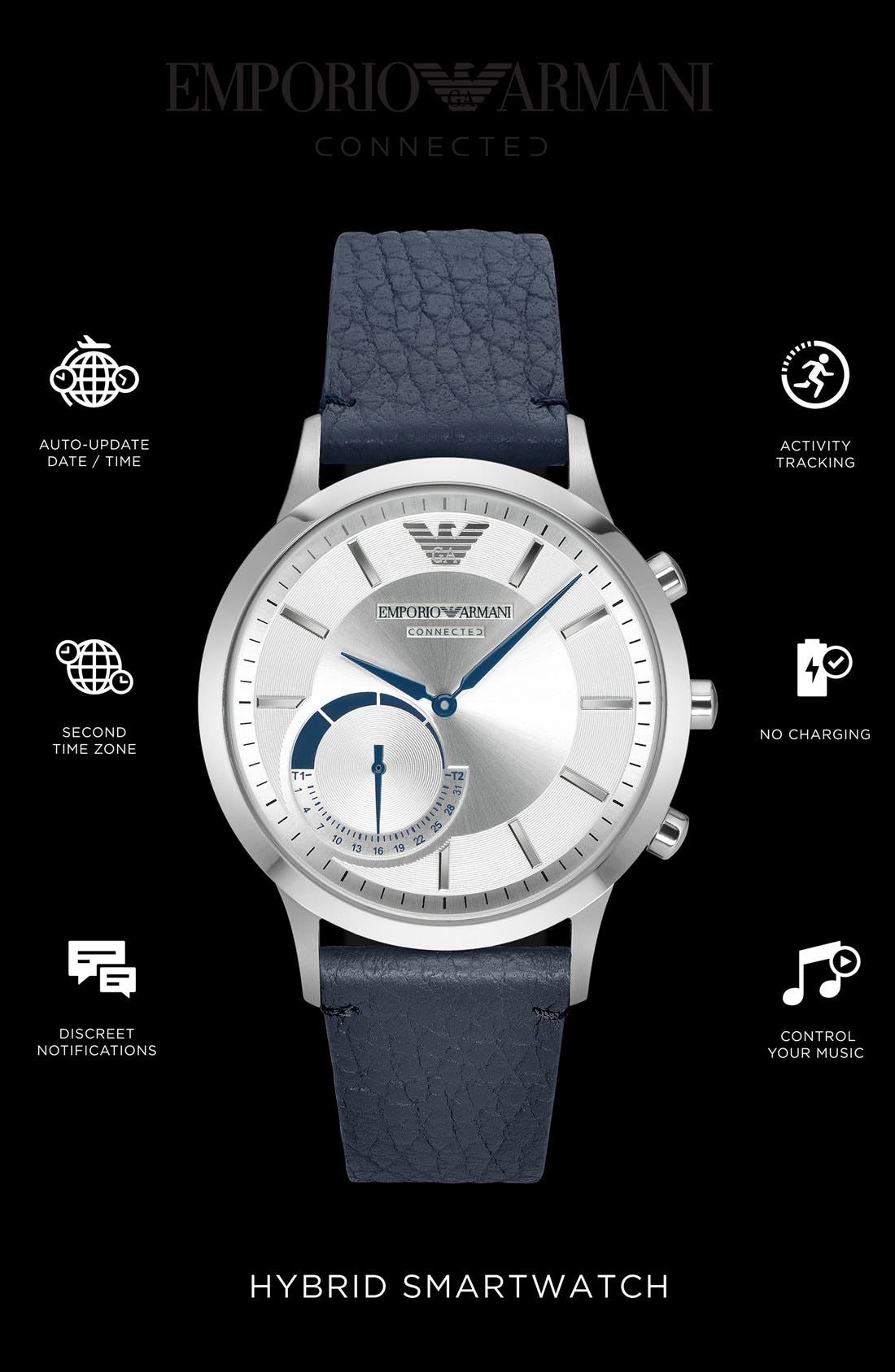 Alternate Image 4  - Emporio Armani Leather Strap Hybrid Smart Watch, 43mm