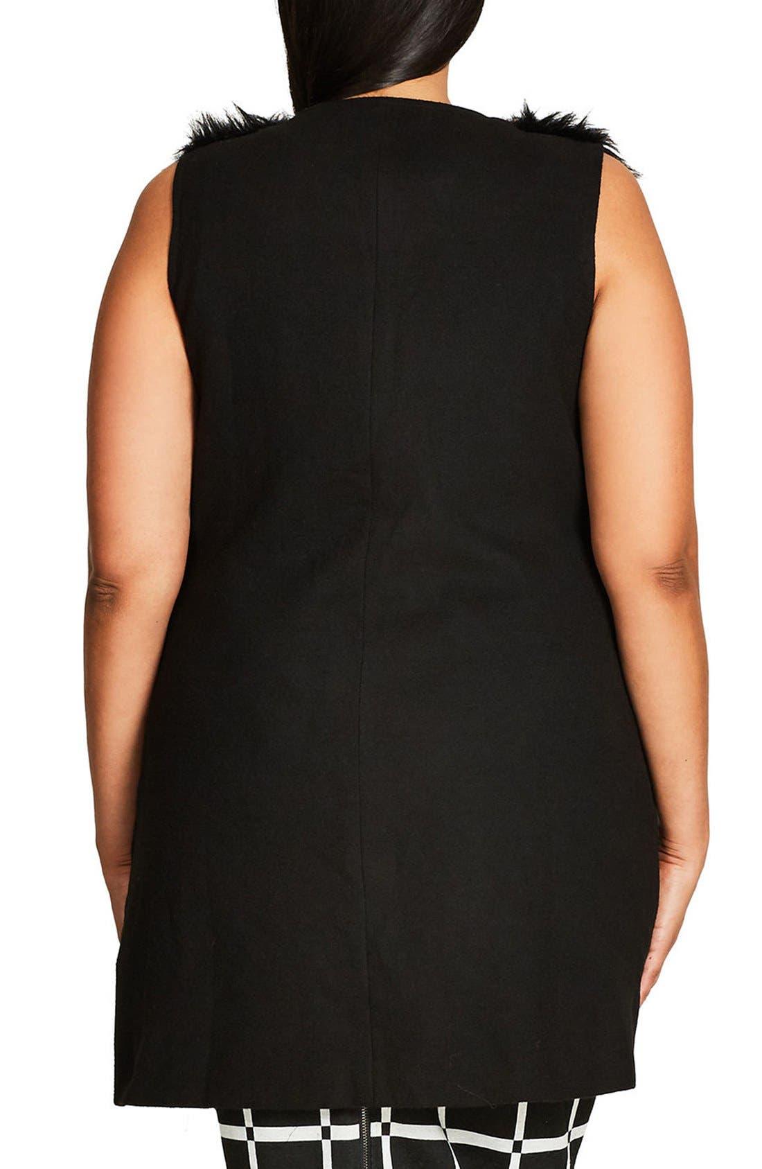 Alternate Image 2  - City Chic Rococo Faux Fur Trim Vest (Plus Size)