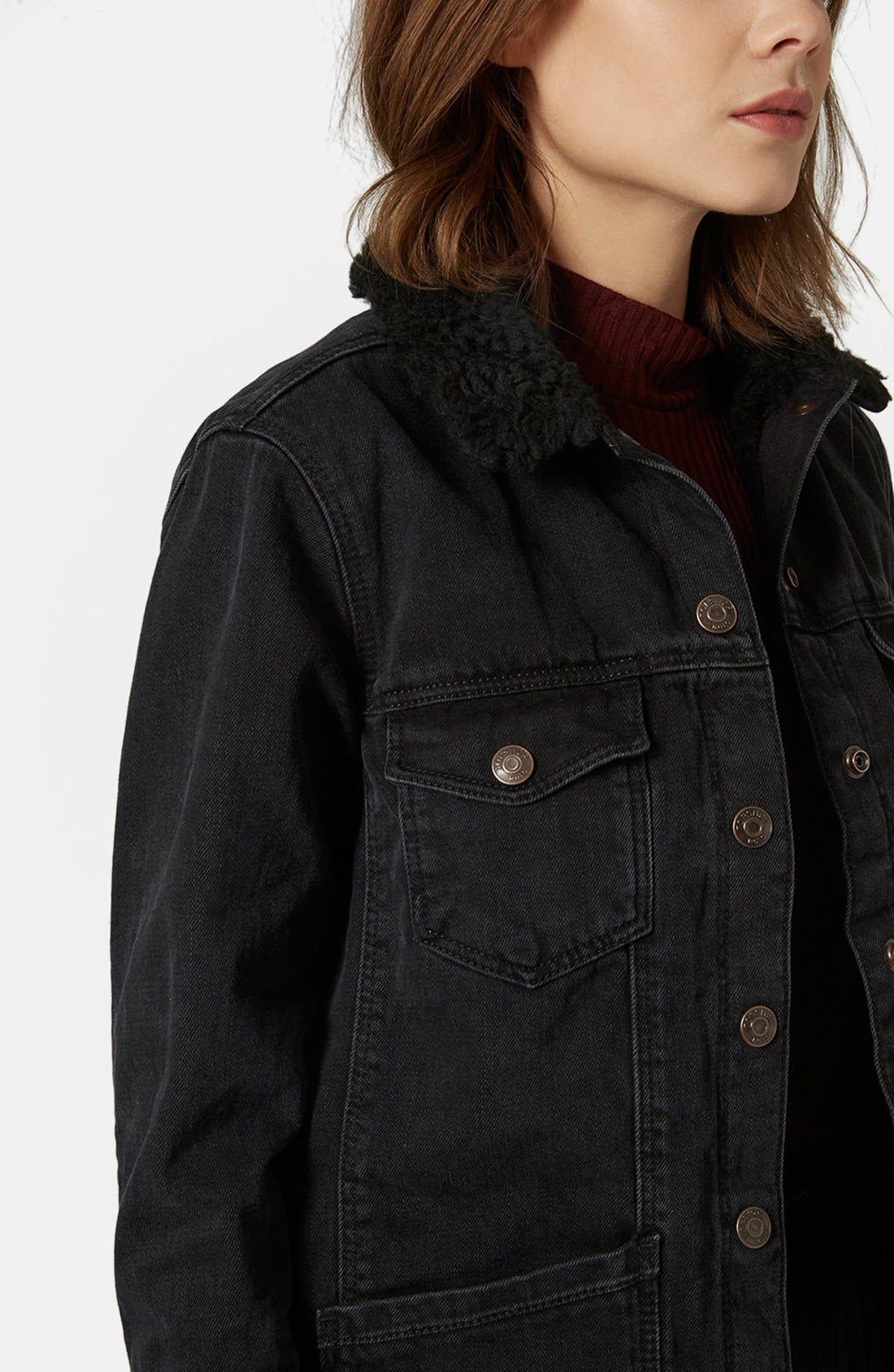 Alternate Image 4  - Topshop Denim Jacket with Faux Shearling Collar