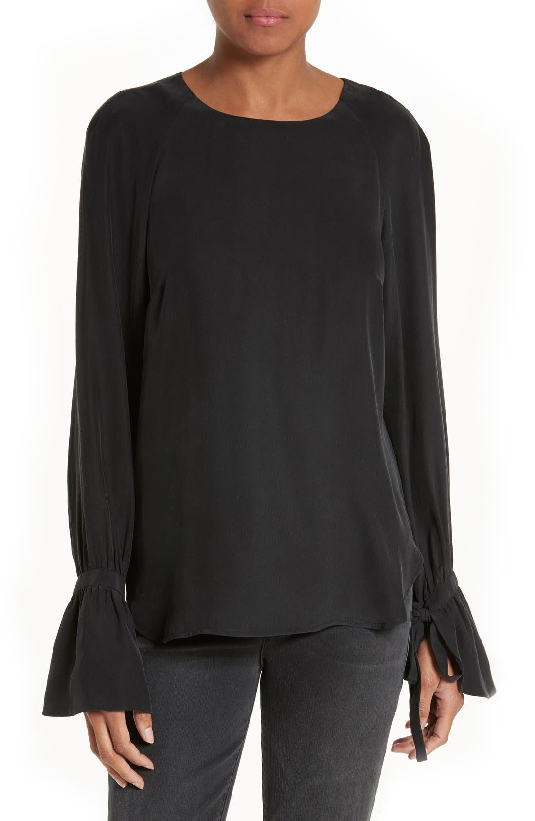 FRAME Voluminous Cuff Silk Blouse