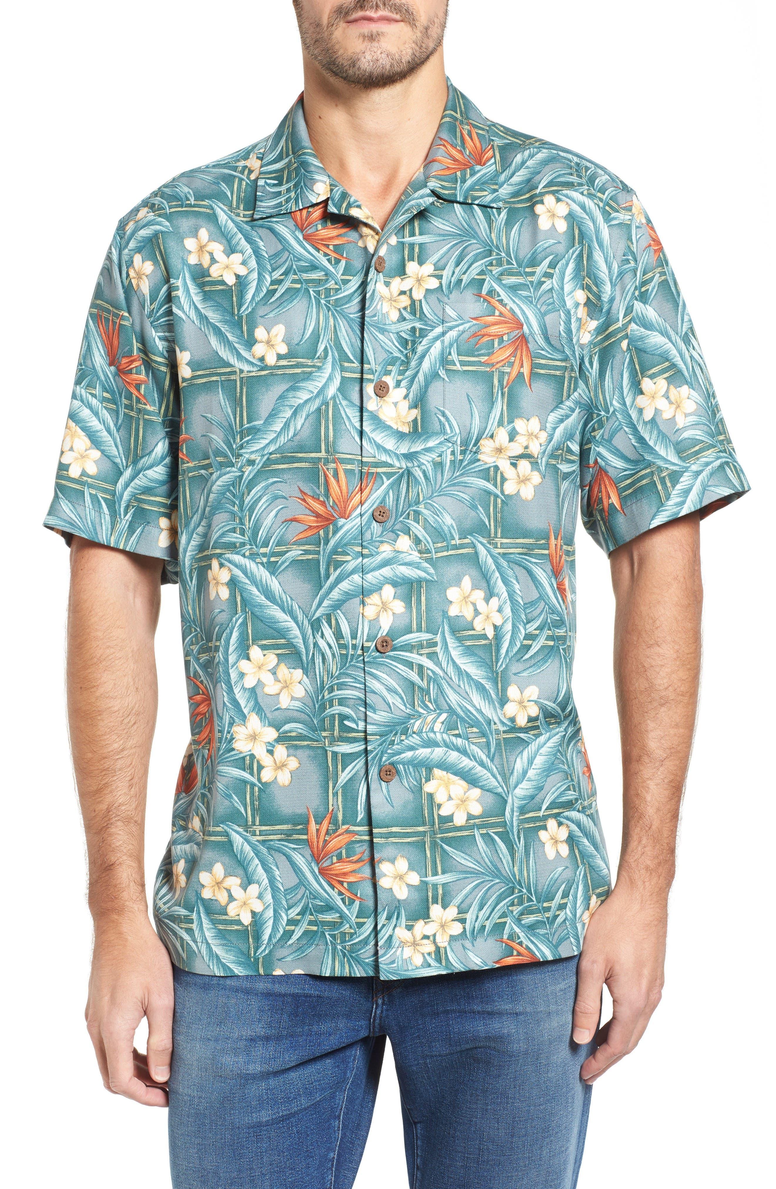 Tommy Bahama Teresina Trellis Classic Fit Silk Blend Camp Shirt (Big & Tall)