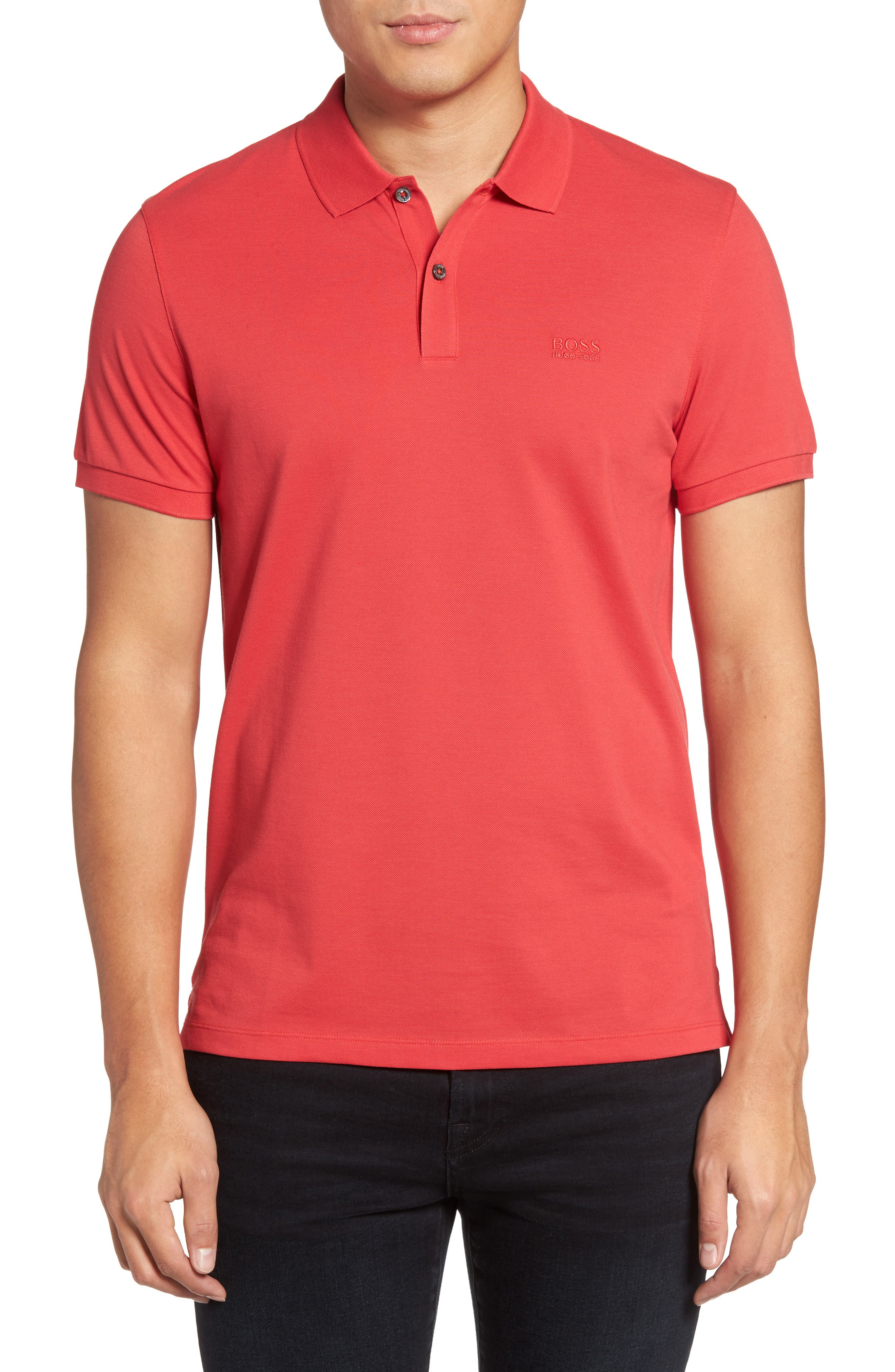 BOSS 'Pallas' Regular Fit Logo Embroidered Polo Shirt
