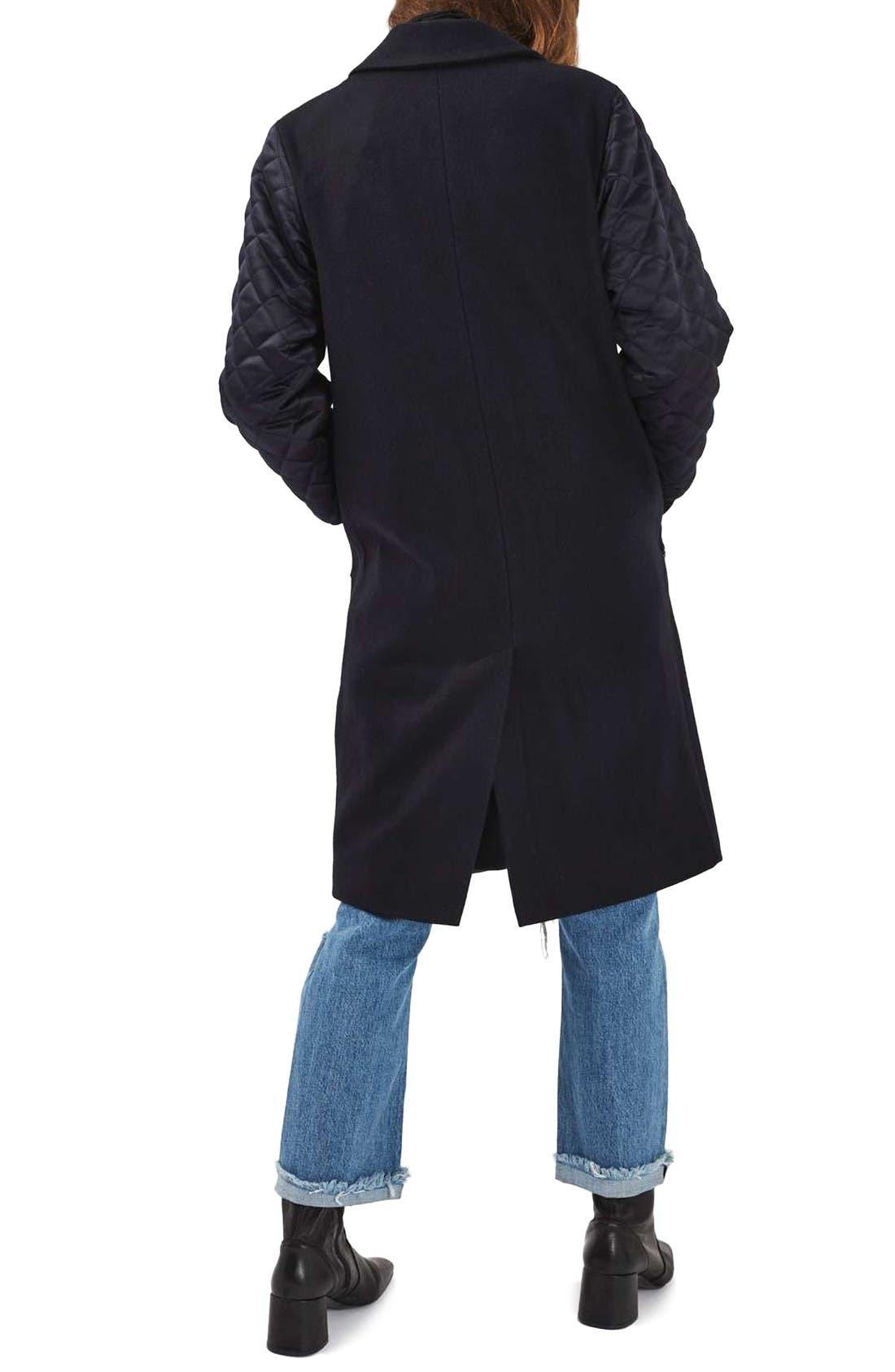 Alternate Image 2  - Topshop Quilted Sleeve Wool Blend Coat