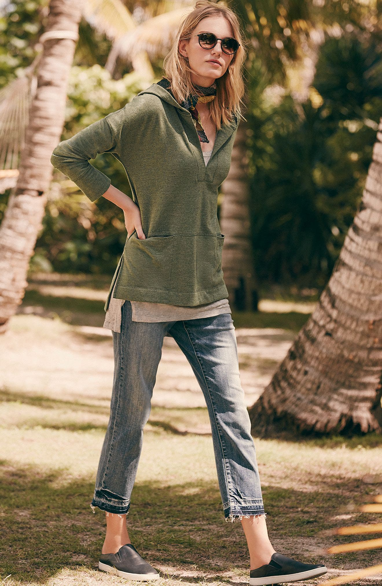 Eileen Fisher Tank, Caslon® Hooded Tunic & Crop Jeans Outfit with Accessories