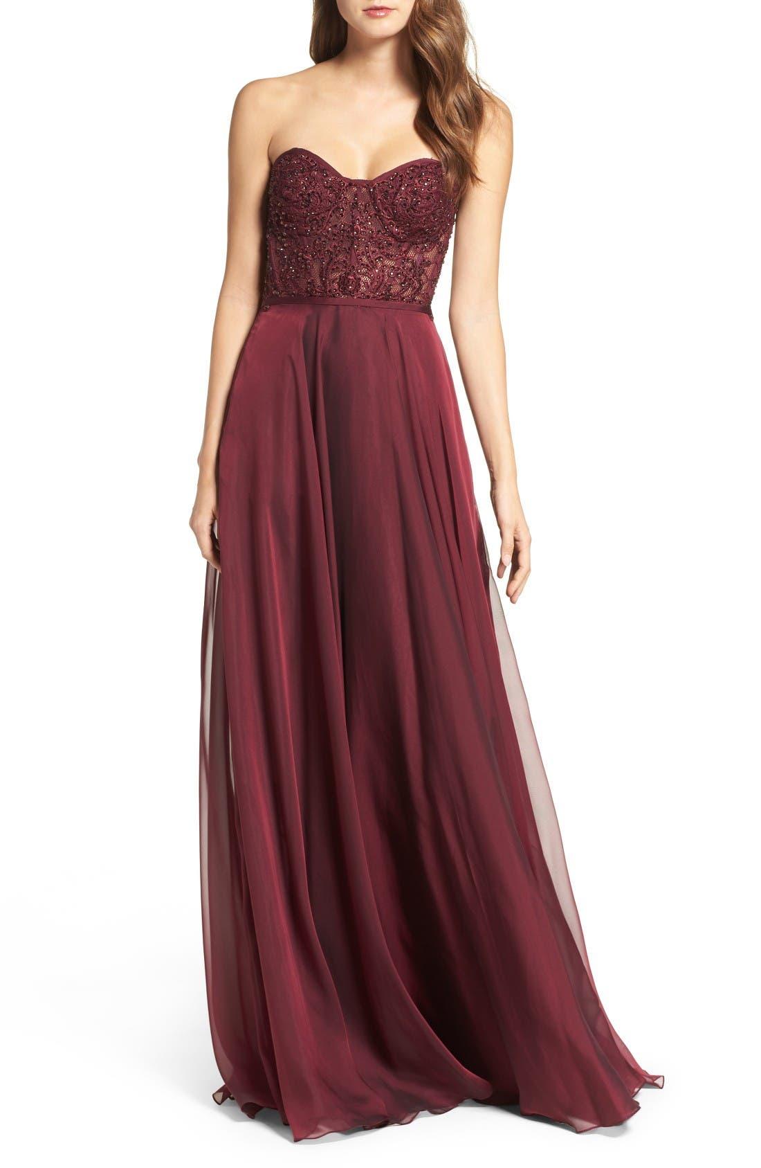 LA FEMME Embellished Strapless Gown