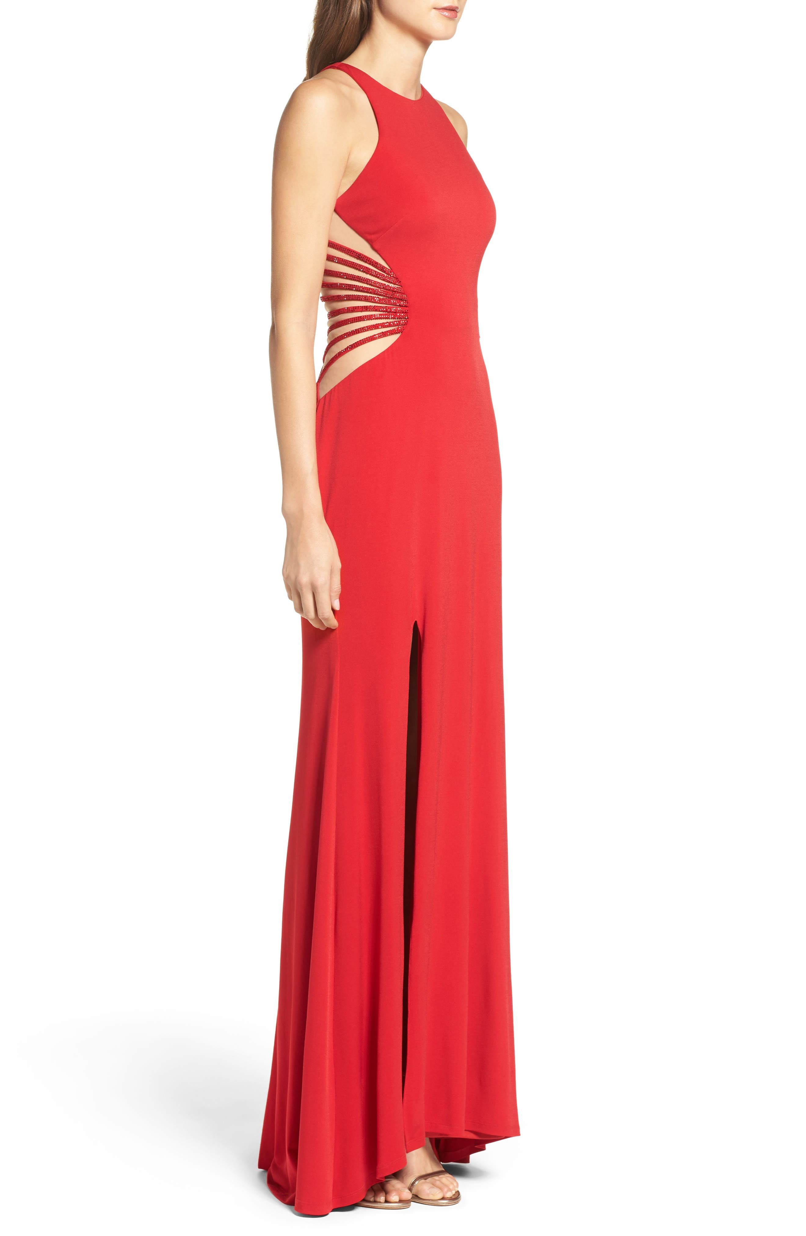 Alternate Image 3  - La Femme Illusion Back Jersey Gown