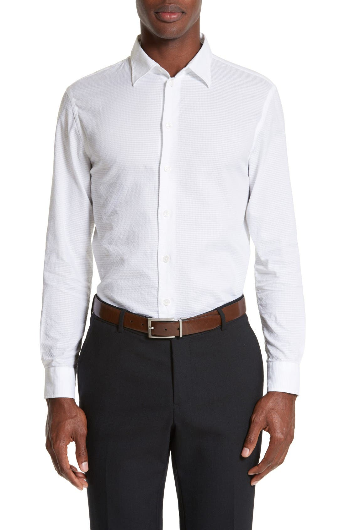 ARMANI COLLEZIONI Modern Fit Geometric Textured Sport Shirt
