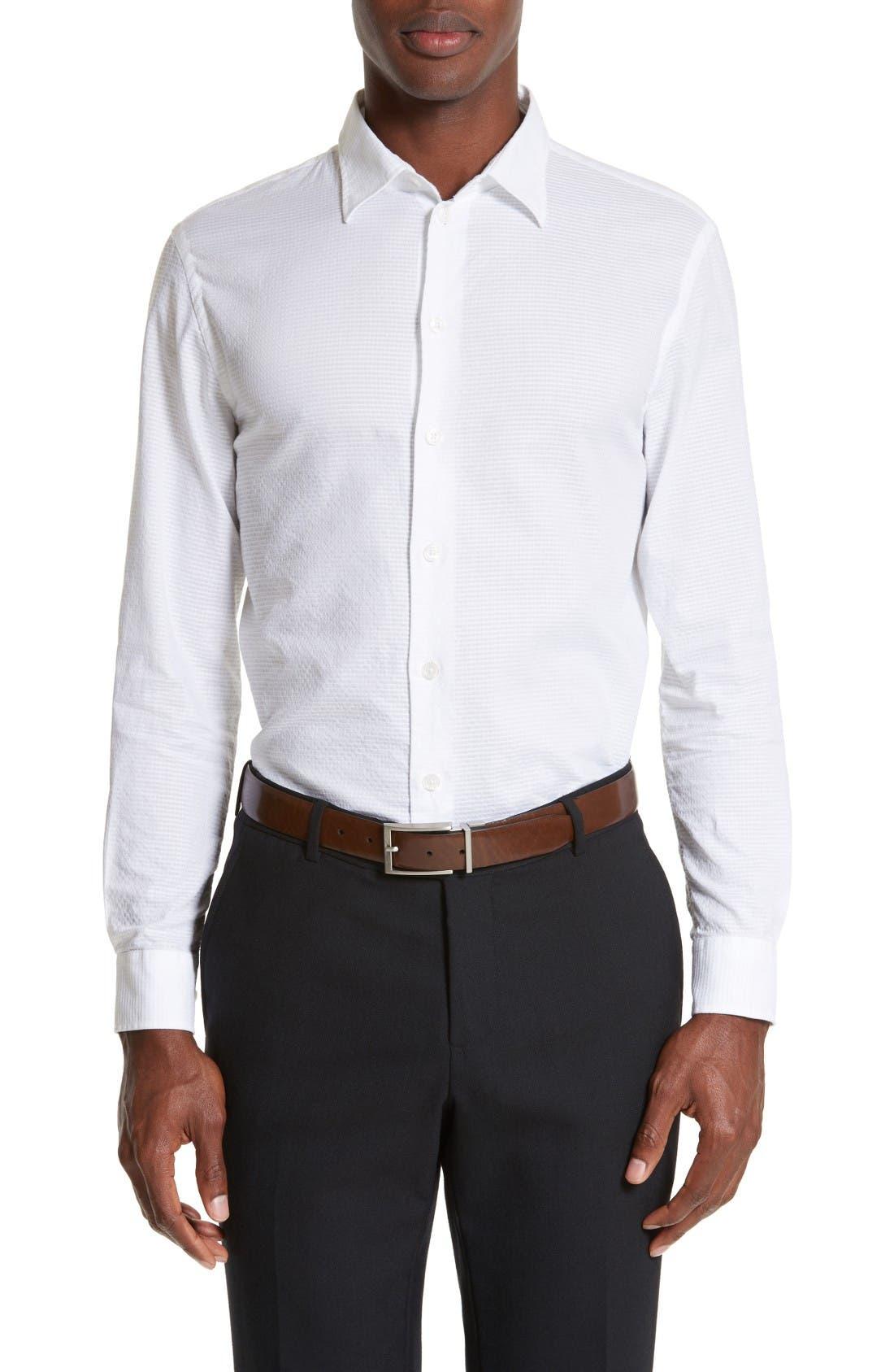 Armani Collezioni Modern Fit Geometric Textured Sport Shirt