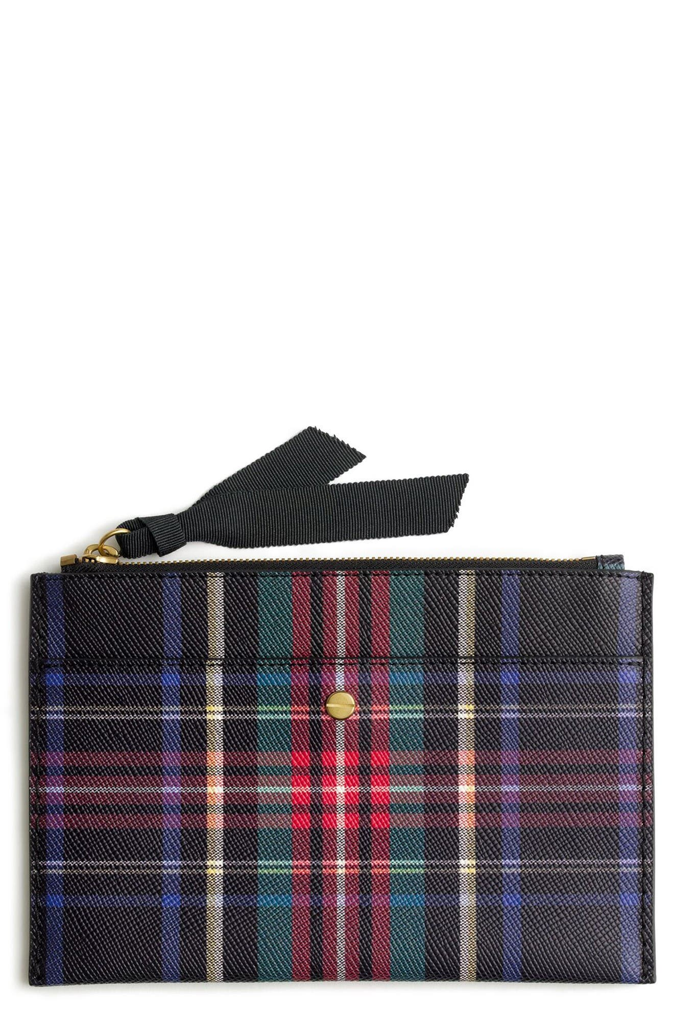 Main Image - J.Crew Medium Stewart Plaid Italian Leather Pouch