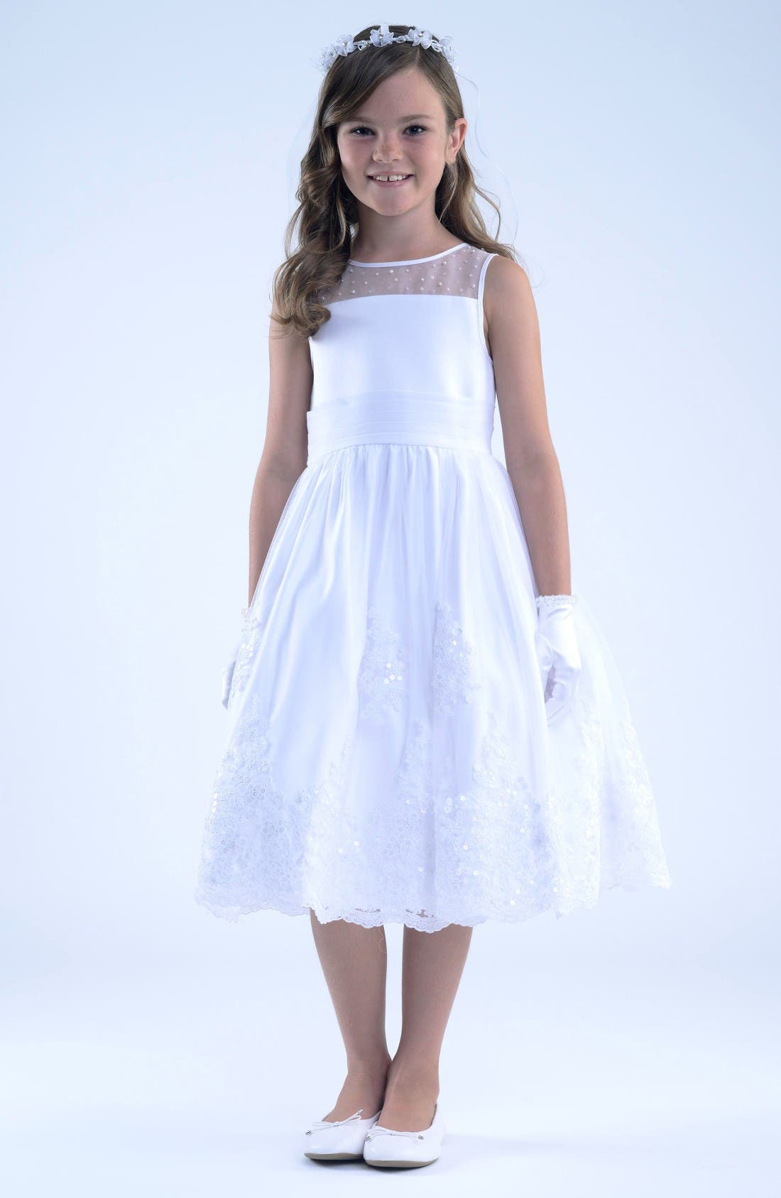 Us Angels Illusion Neckline Dress (Little Girls & Big Girls)