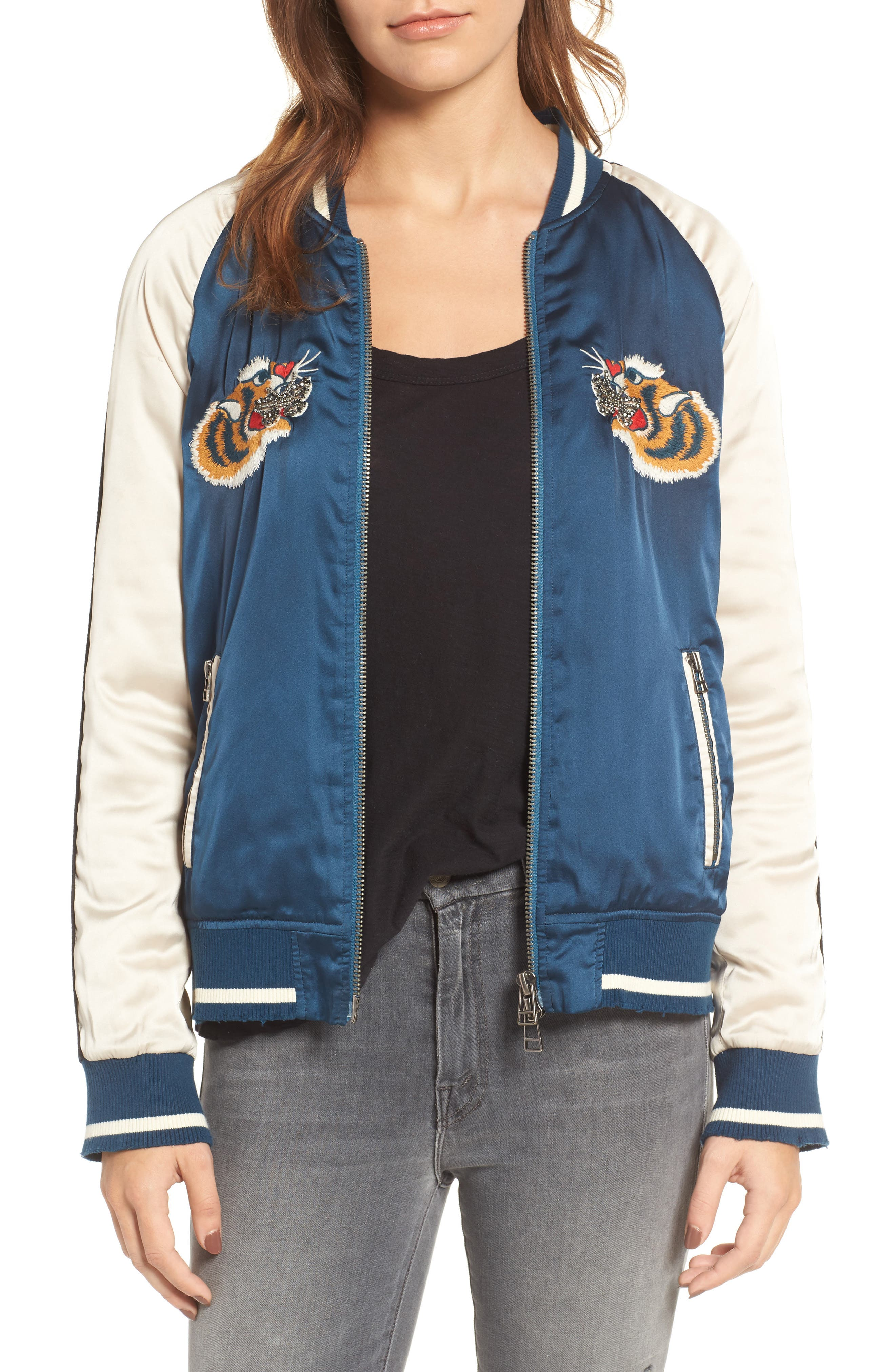 Alternate Image 1 Selected - Pam & Gela Embroidered Satin Bomber Jacket