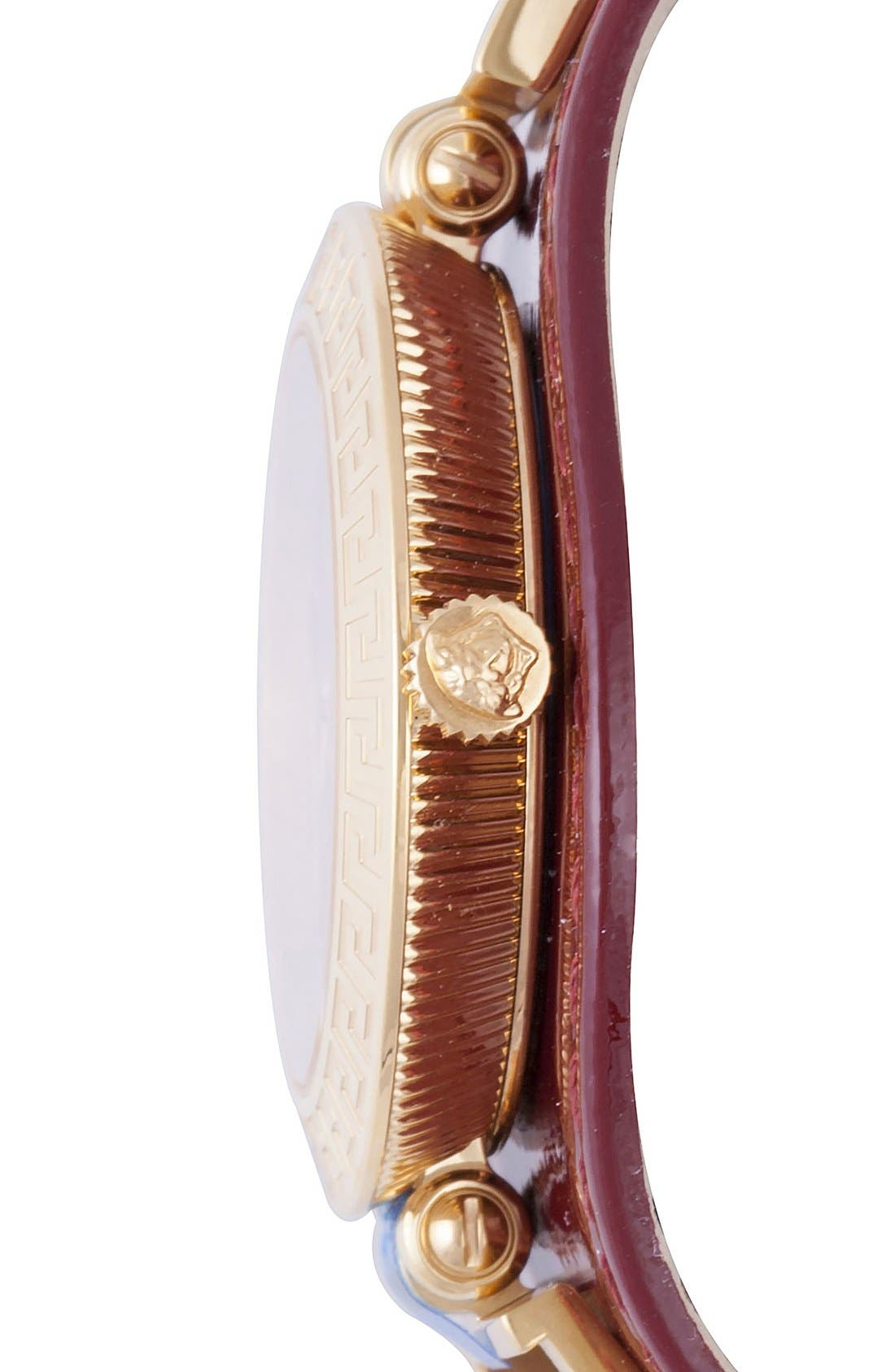 Alternate Image 3  - Versace 'V-Signature' Convertible Leather Strap Watch, 35mm
