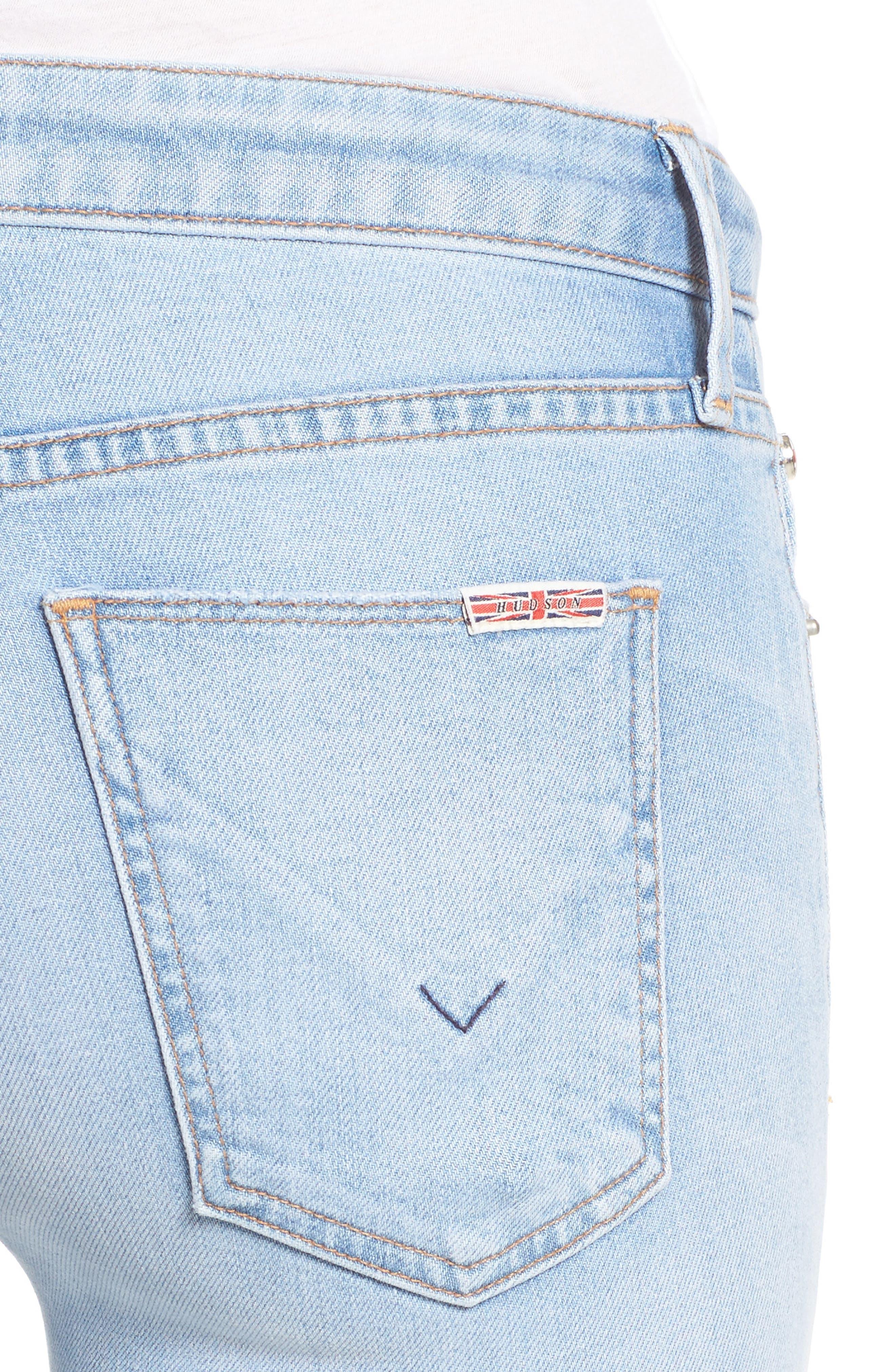 Alternate Image 4  - Hudson Jeans Mia Patchwork Flare Jeans (Royal Delta)
