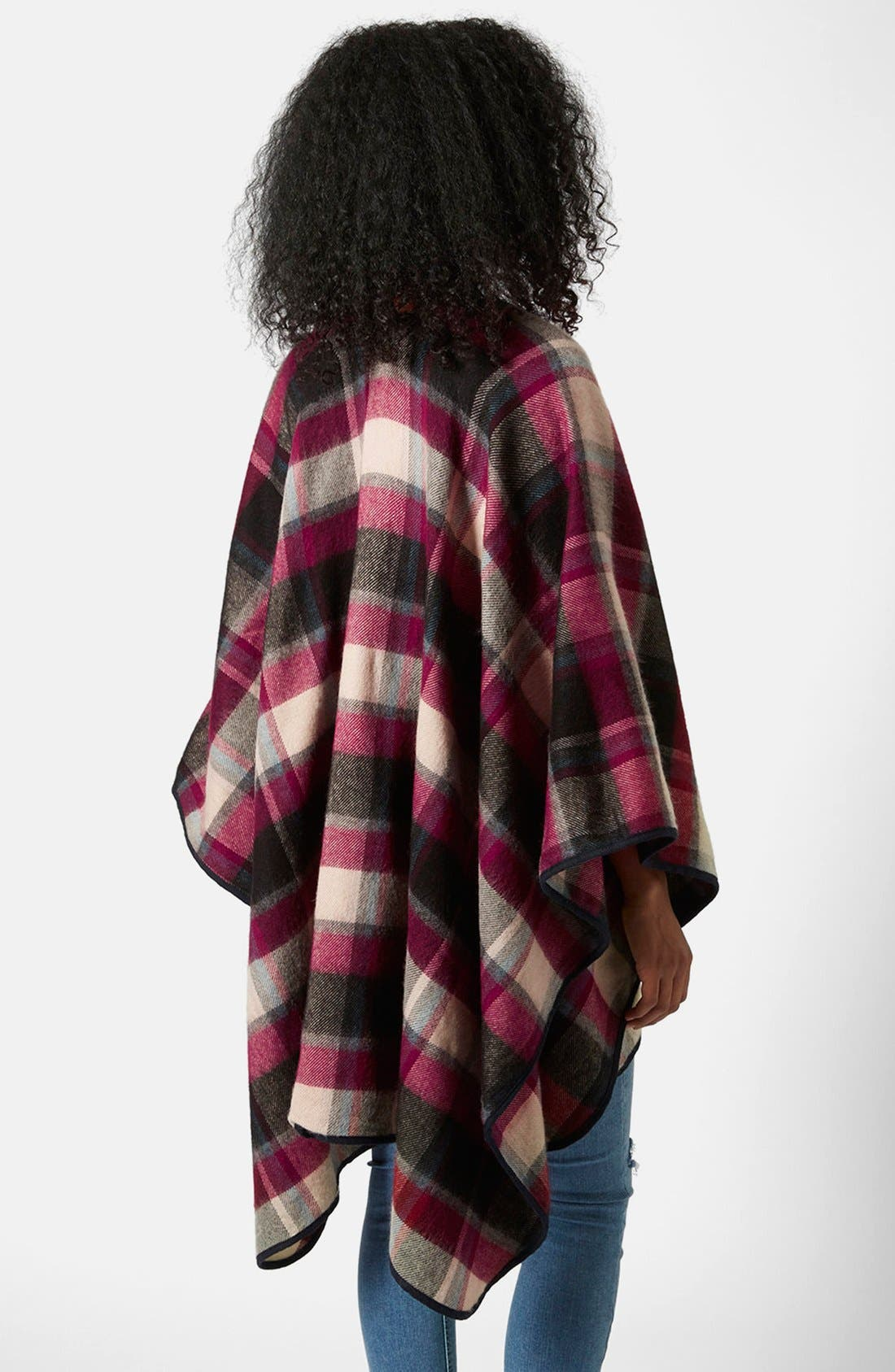 Alternate Image 3  - Topshop Check Print Cape