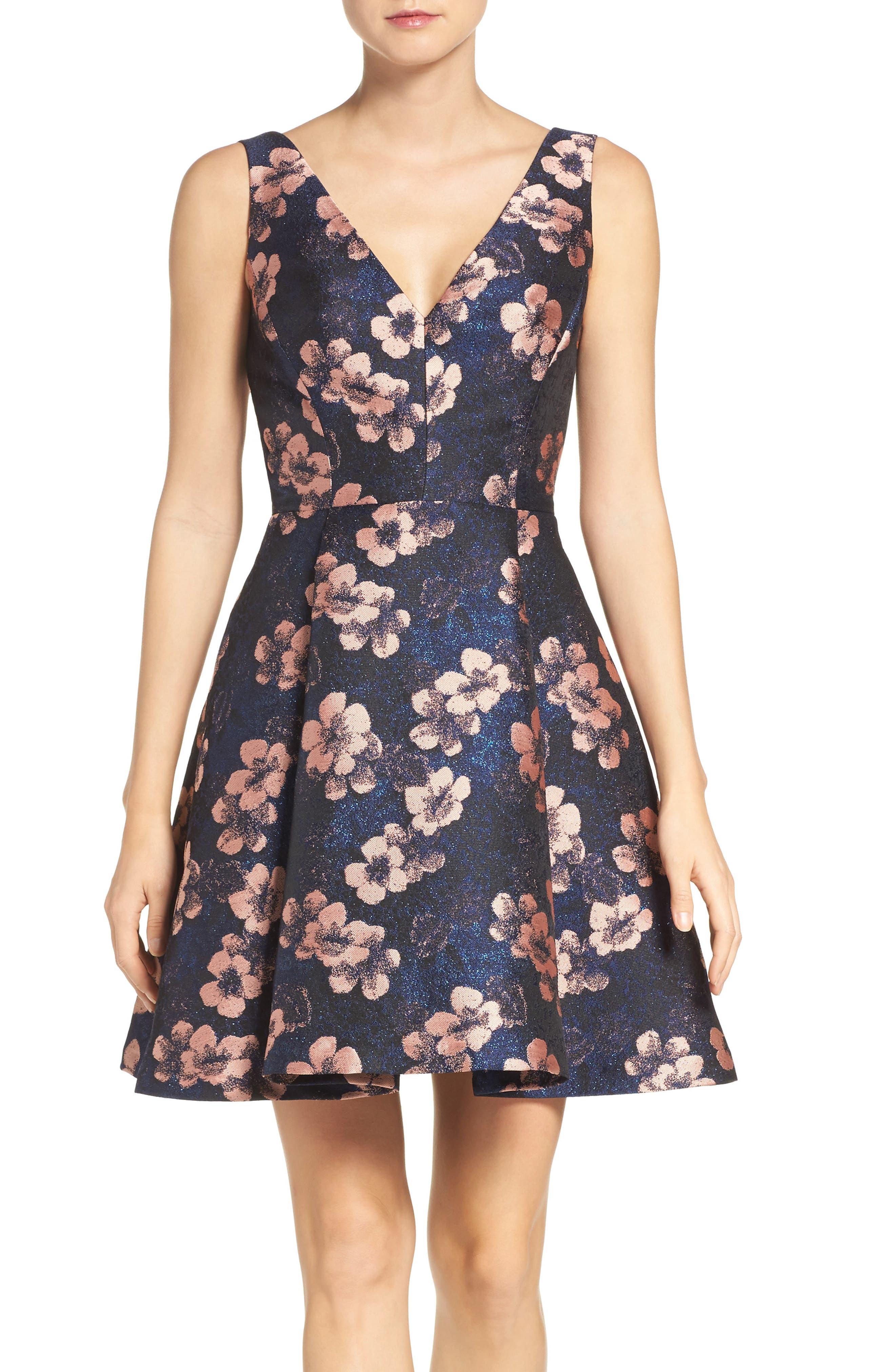 Main Image - Betsey Johnson Metallic Jacquard Fit & Flare Dress