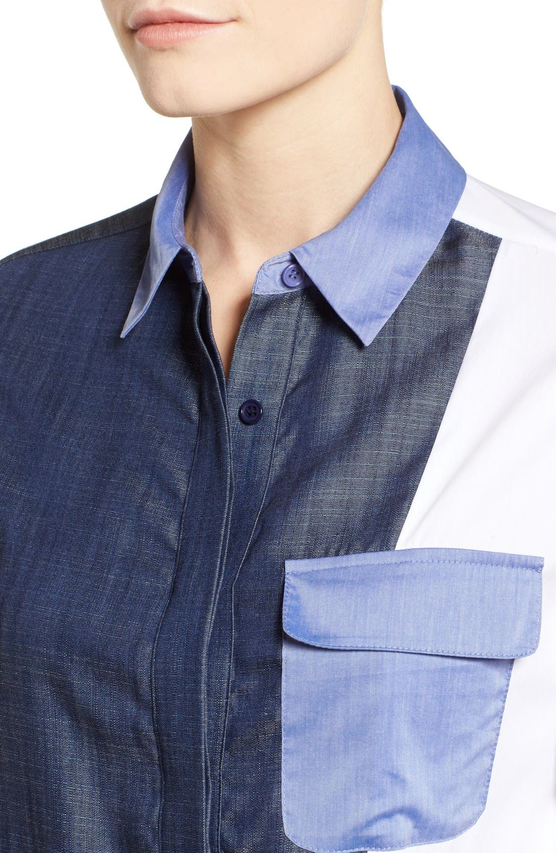 Alternate Image 4  - Ivanka Trump Denim & Poplin Colorblock Shirt