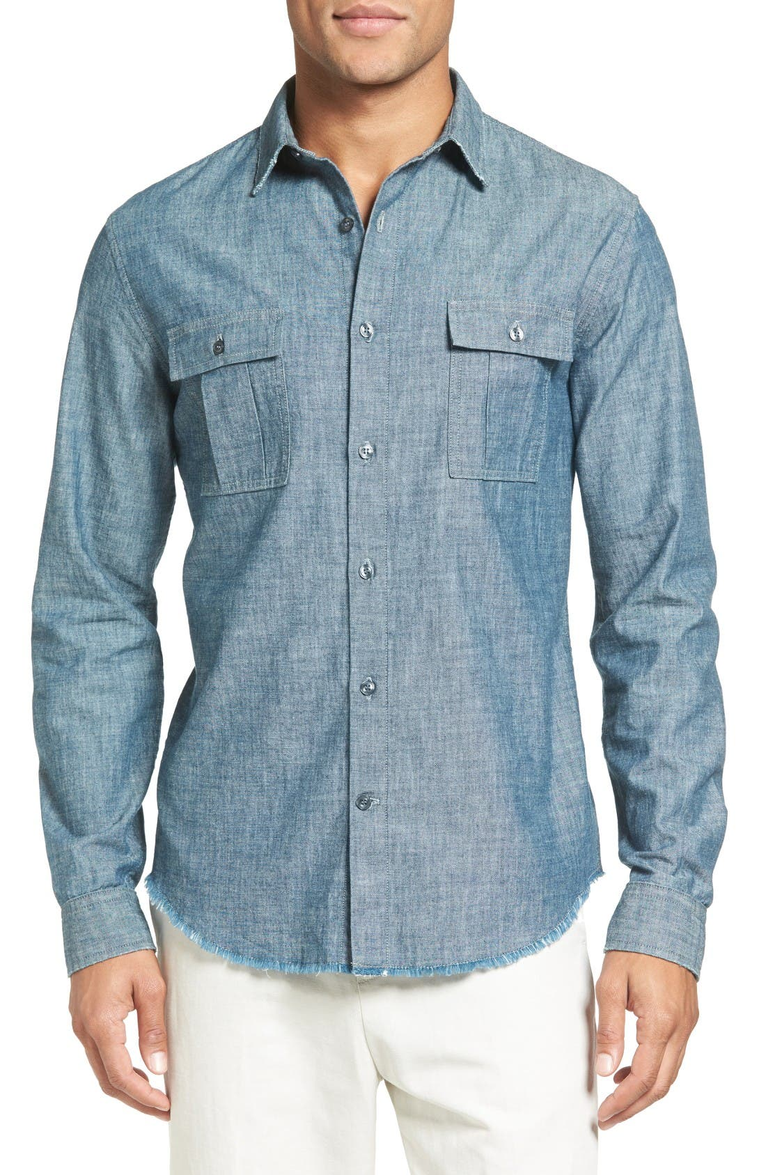 Vince Trim Fit Chambray Sport Shirt