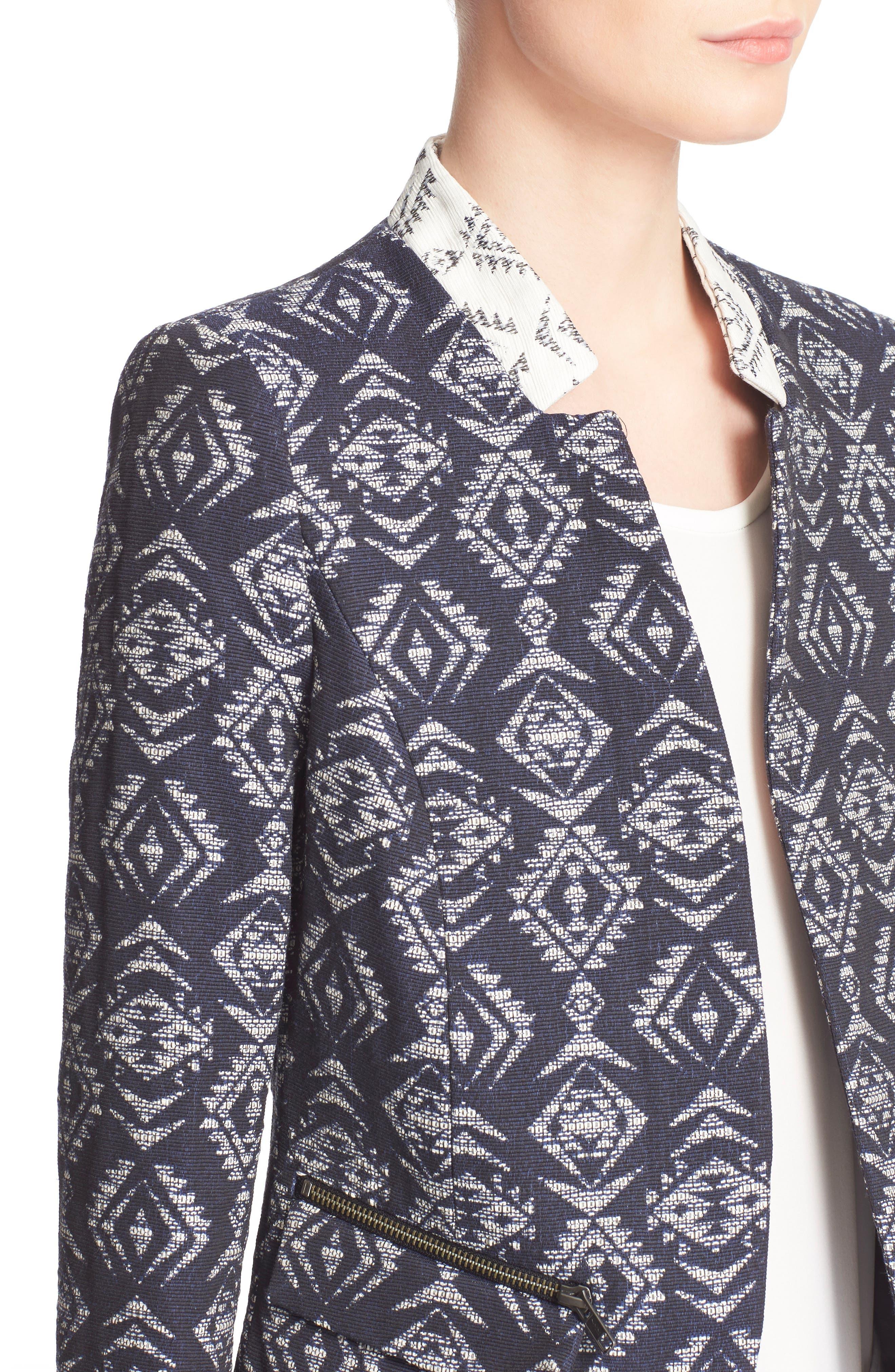 Alternate Image 4  - Helene Berman Edge to Edge Geo Print Open Front Jacket