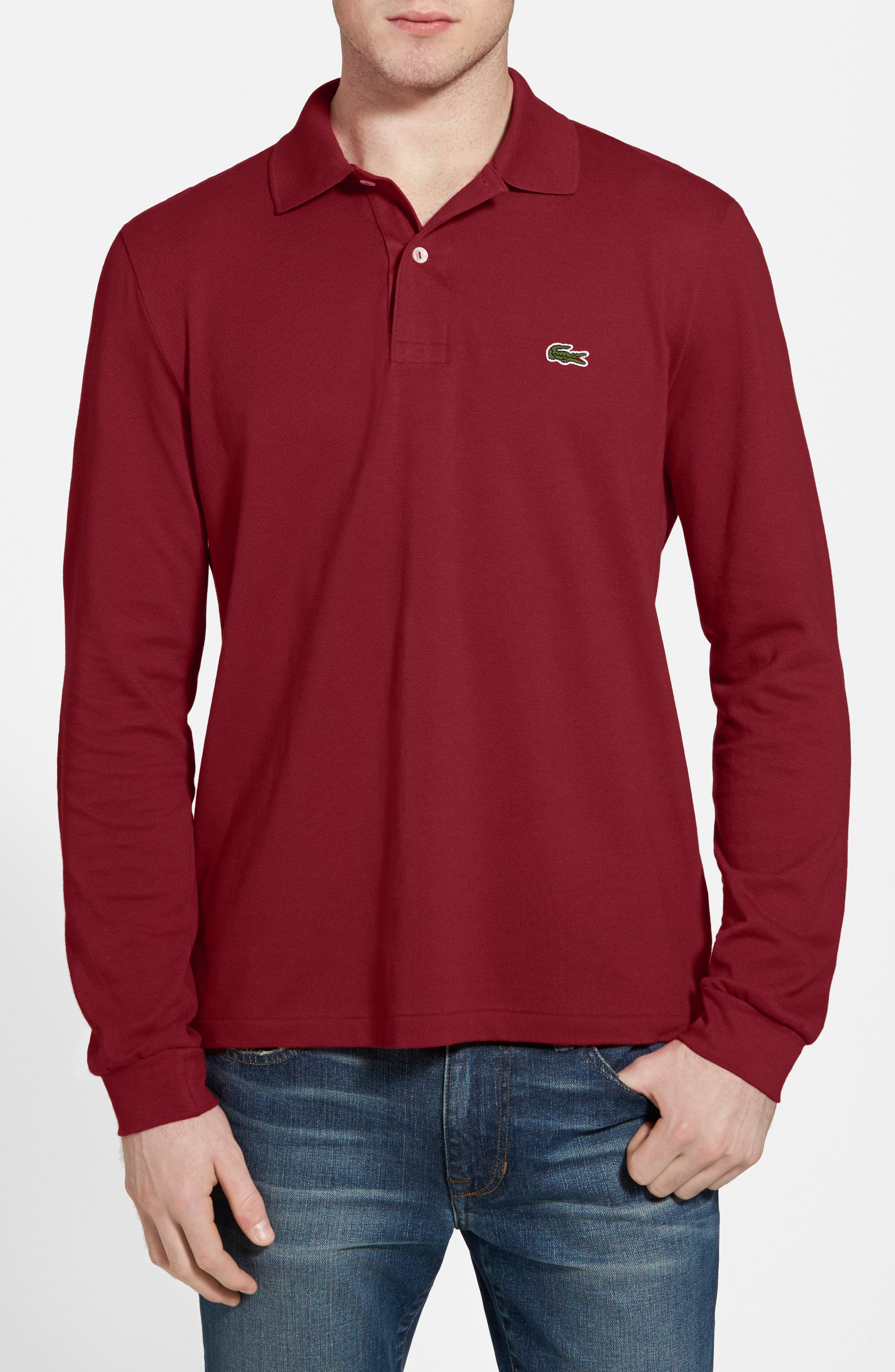 Alternate Image 1 Selected - Lacoste Classic Fit Long Sleeve Piqué Polo