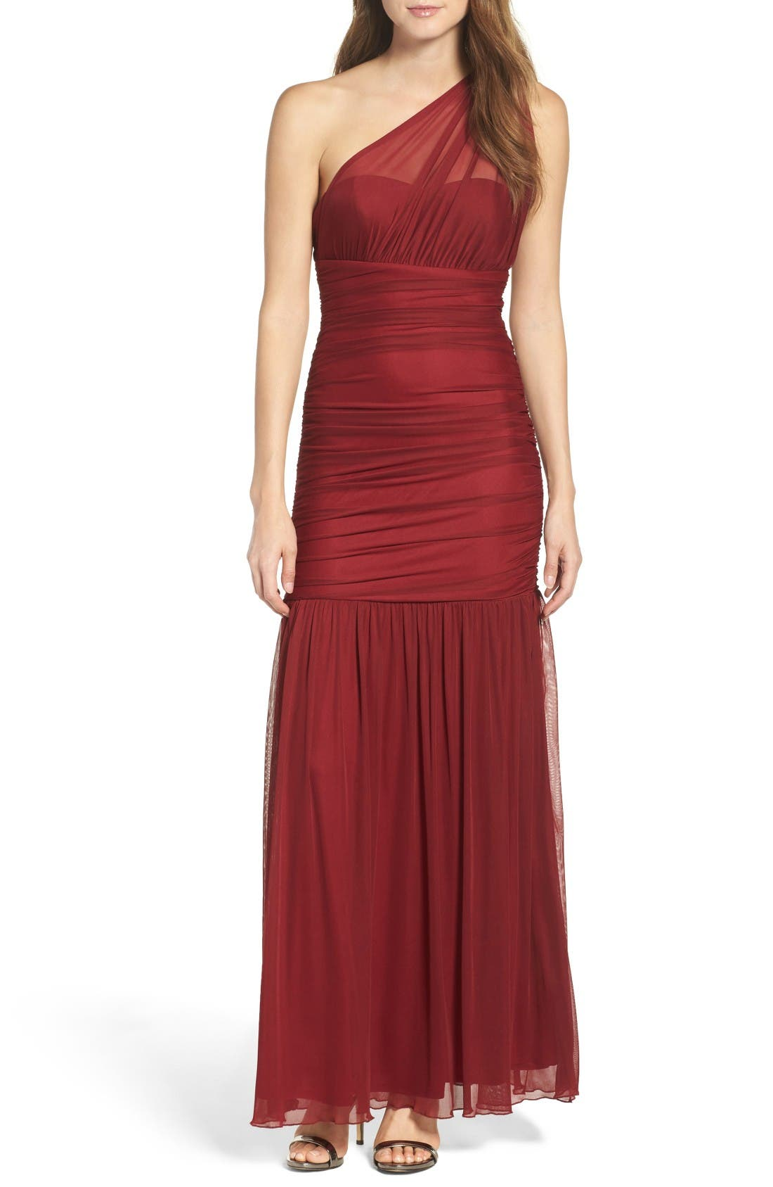 Lulus One-Shoulder Chiffon Gown