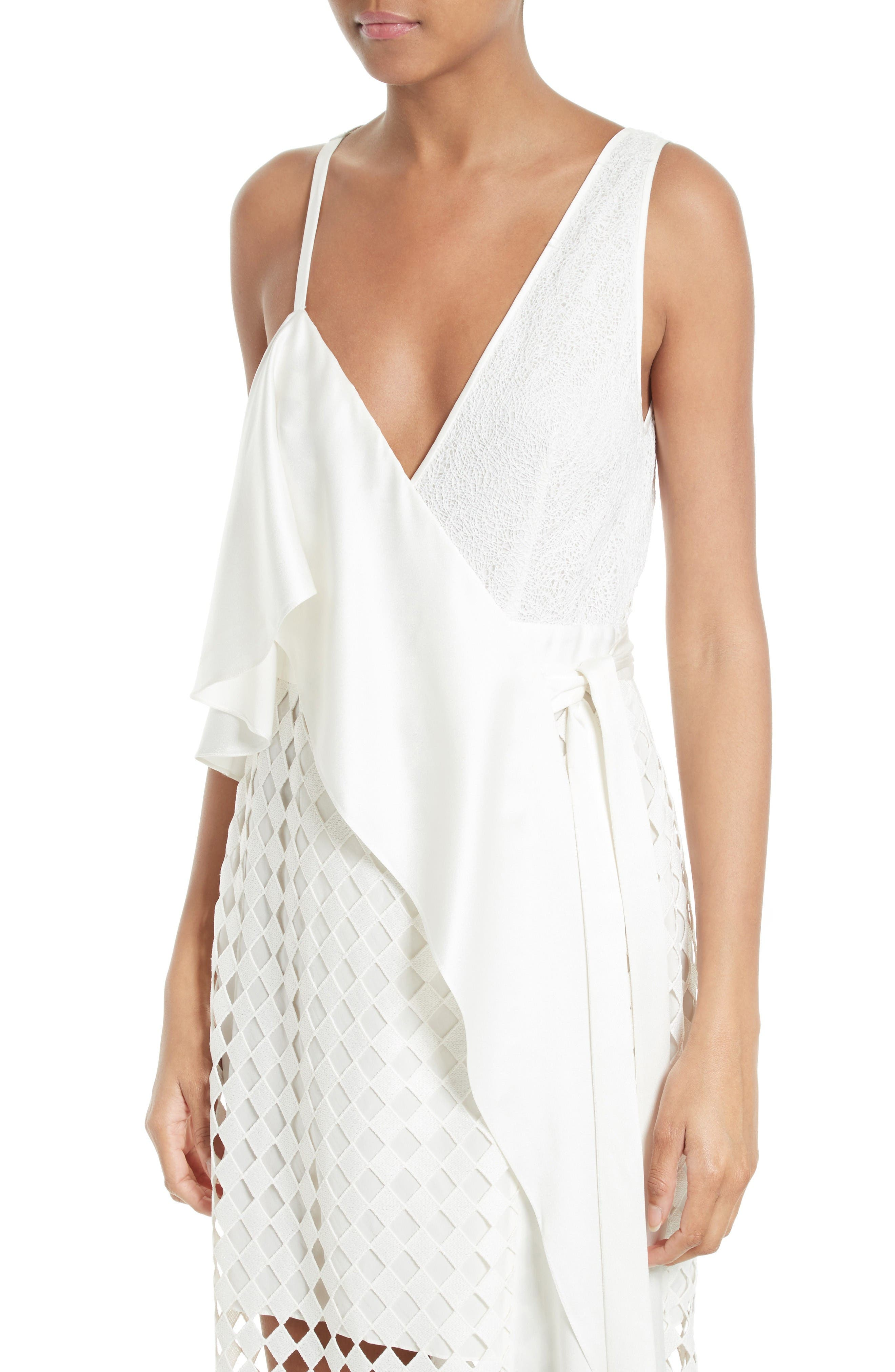 Alternate Image 4  - Diane von Furstenberg Asymmetrical Ruffle Mixed Media Wrap Dress
