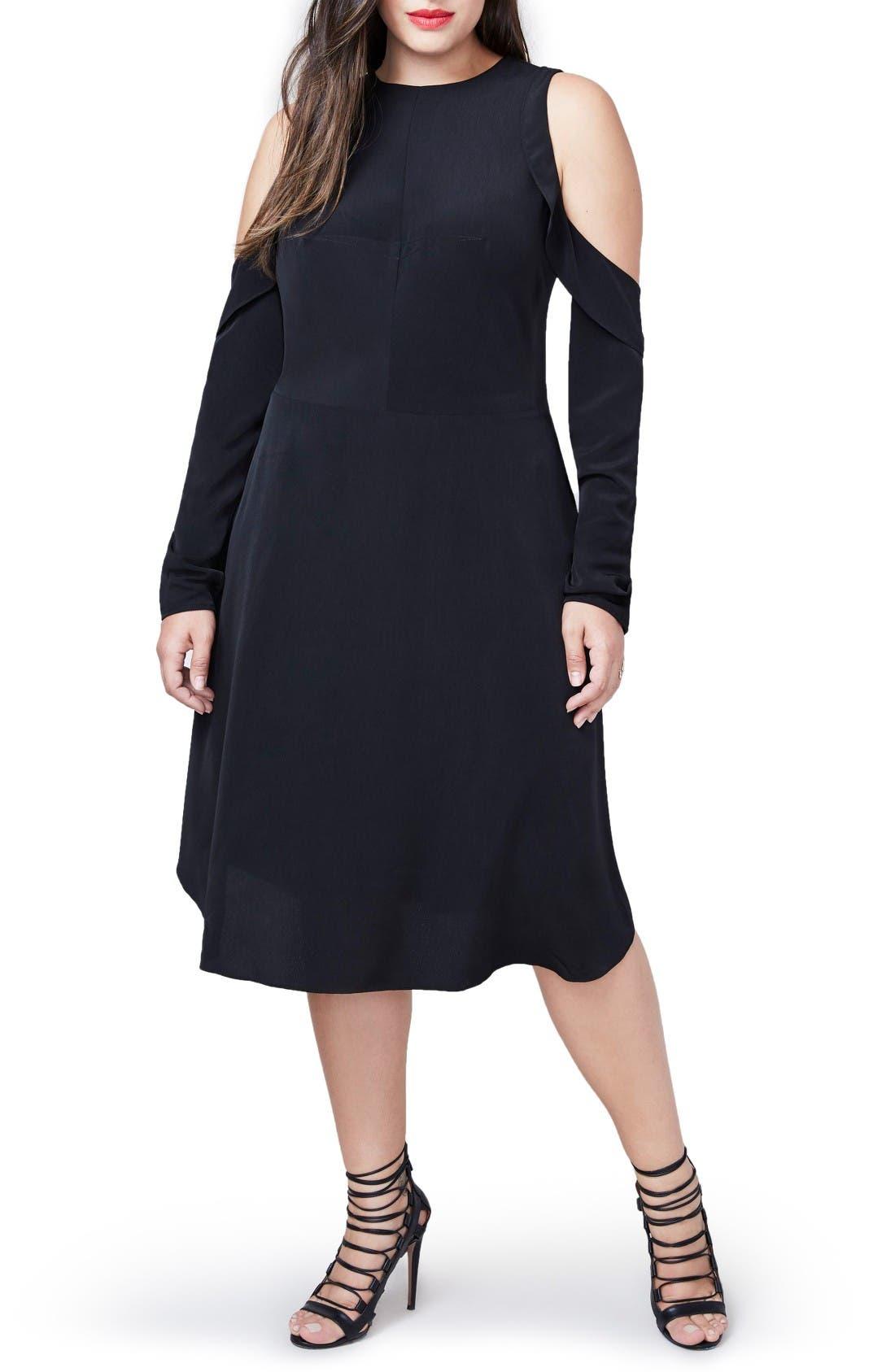 RACHEL Rachel Roy Ruffle Cold Shoulder Dress (Plus Size)