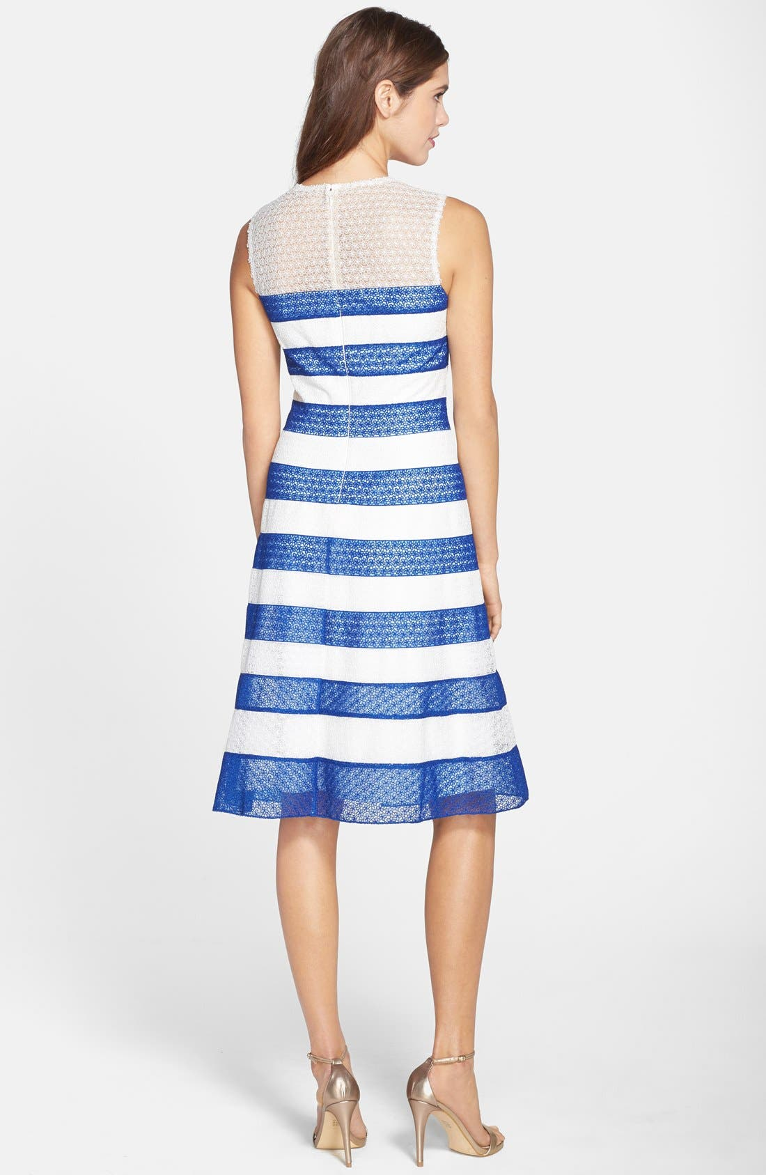 Alternate Image 2  - Tadashi Shoji Stripe Lace Fit & Flare Dress